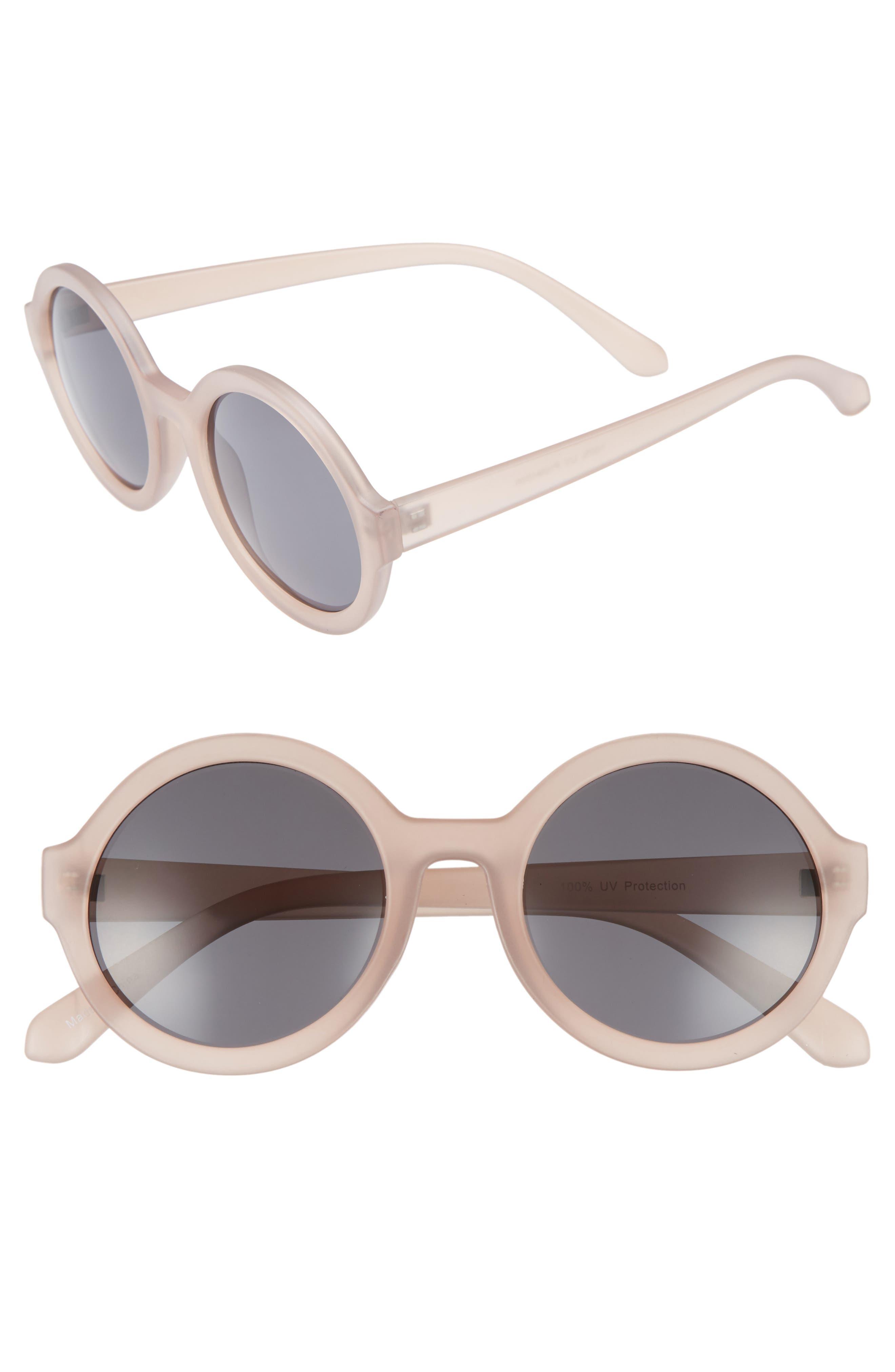50mm Round Sunglasses,                         Main,                         color, Mauve