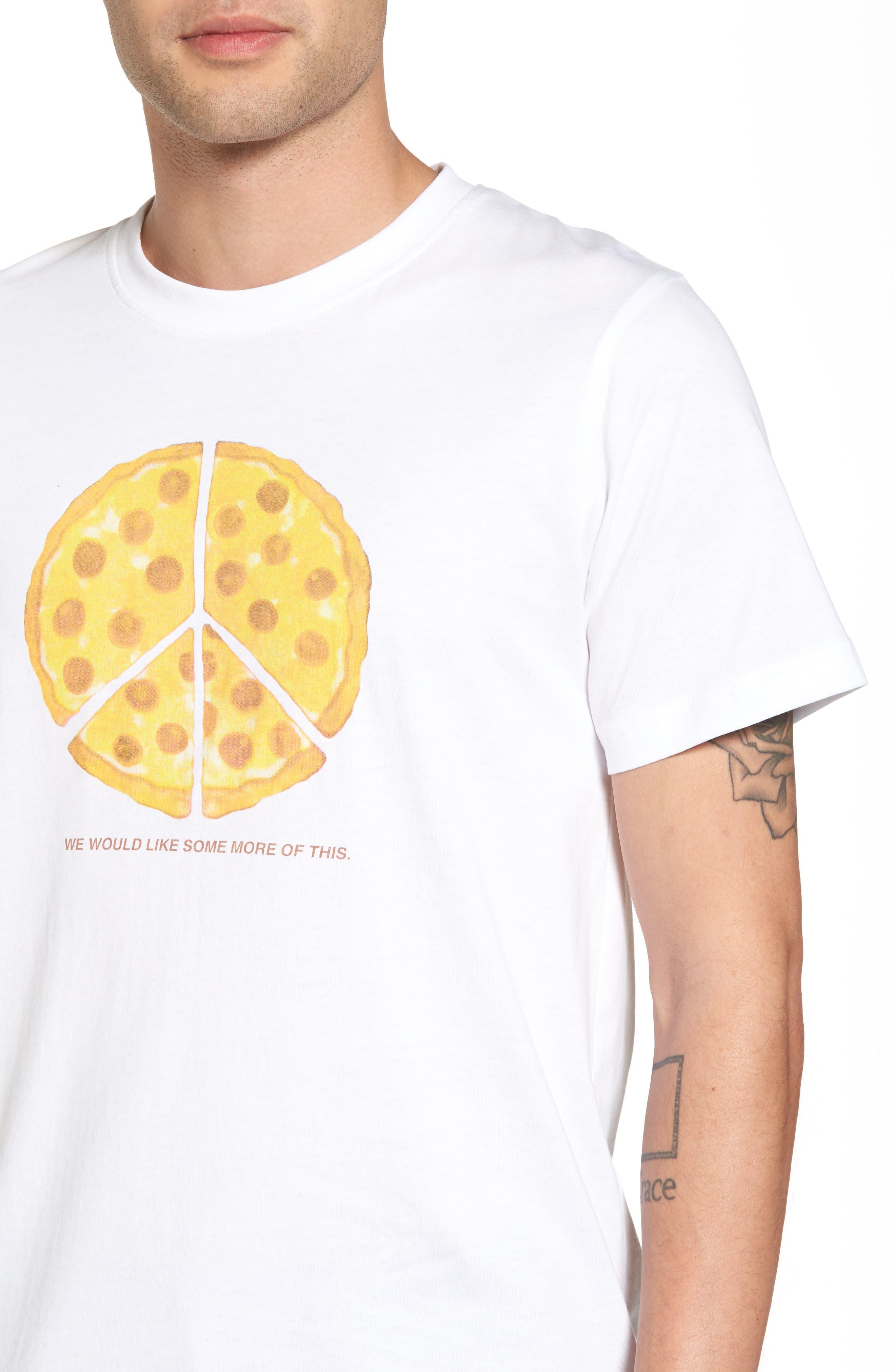 Max Peace Pizza Graphic T-Shirt,                             Alternate thumbnail 4, color,                             White