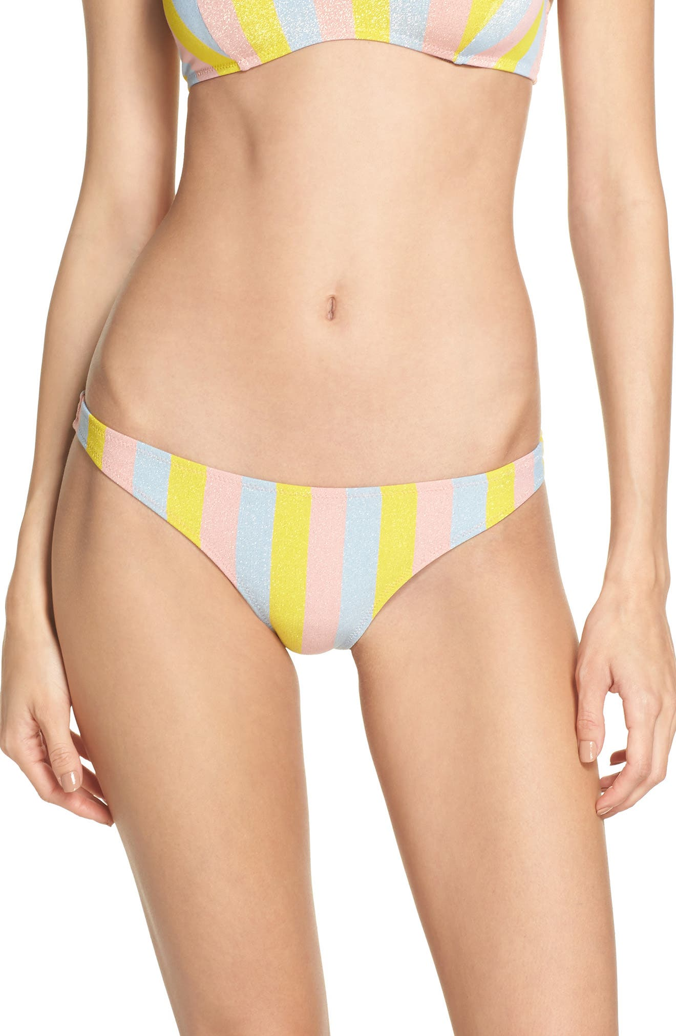 The Rachel Bikini Bottoms,                             Main thumbnail 1, color,                             Yellow/ Blue/ Pink
