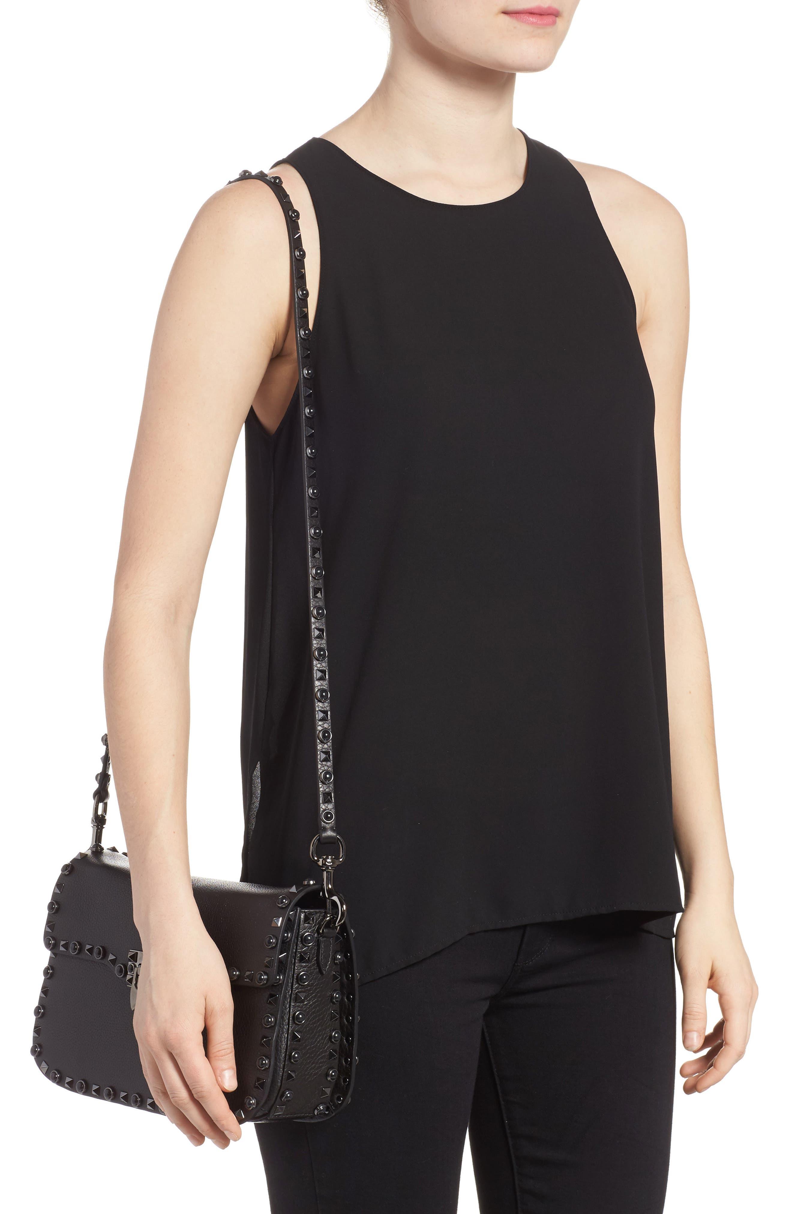 Rockstud Leather Shoulder Bag,                             Alternate thumbnail 2, color,                             Nero
