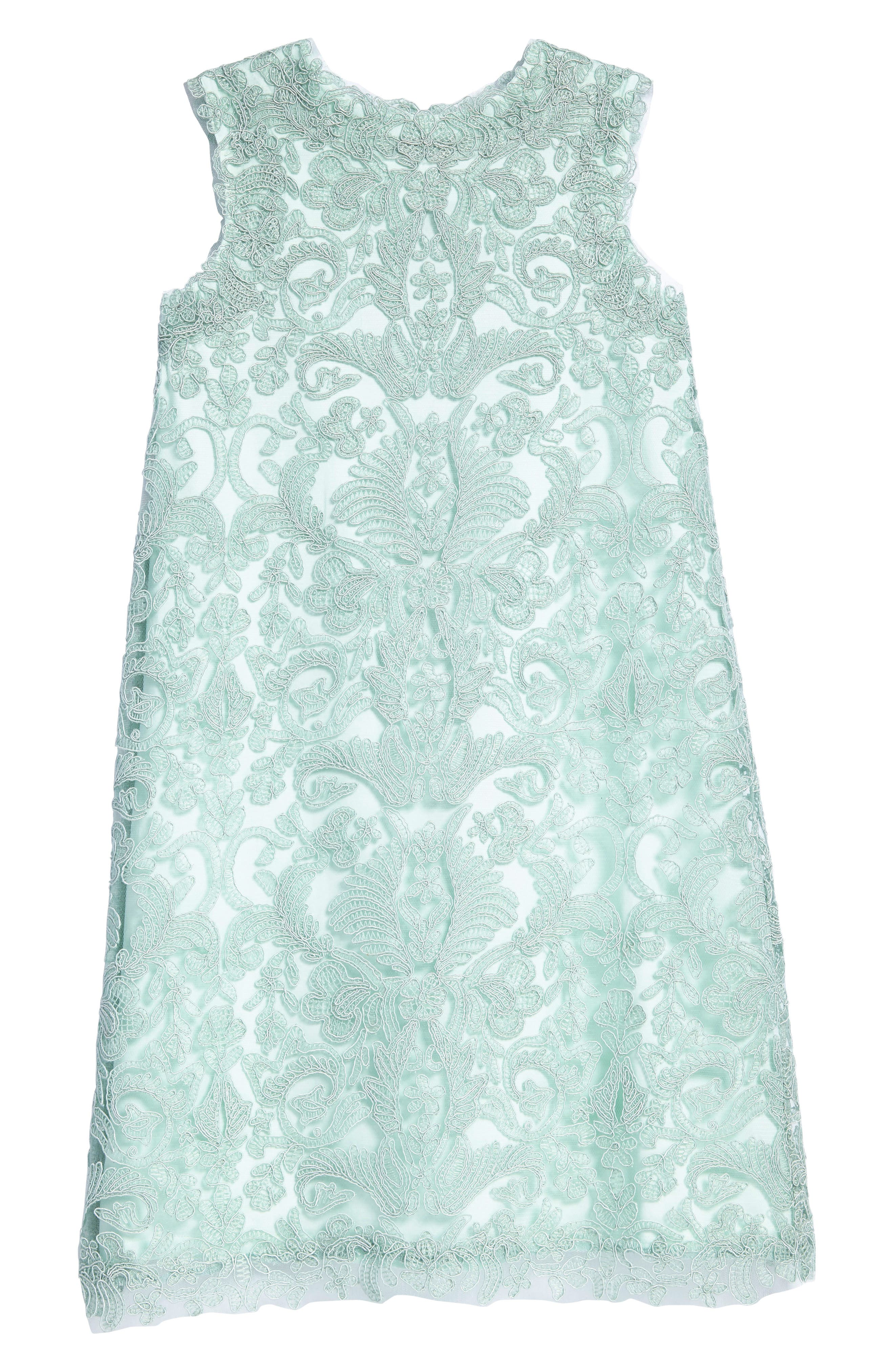 'Honeysuckle' Embroidered Tulle Dress,                         Main,                         color, Mint
