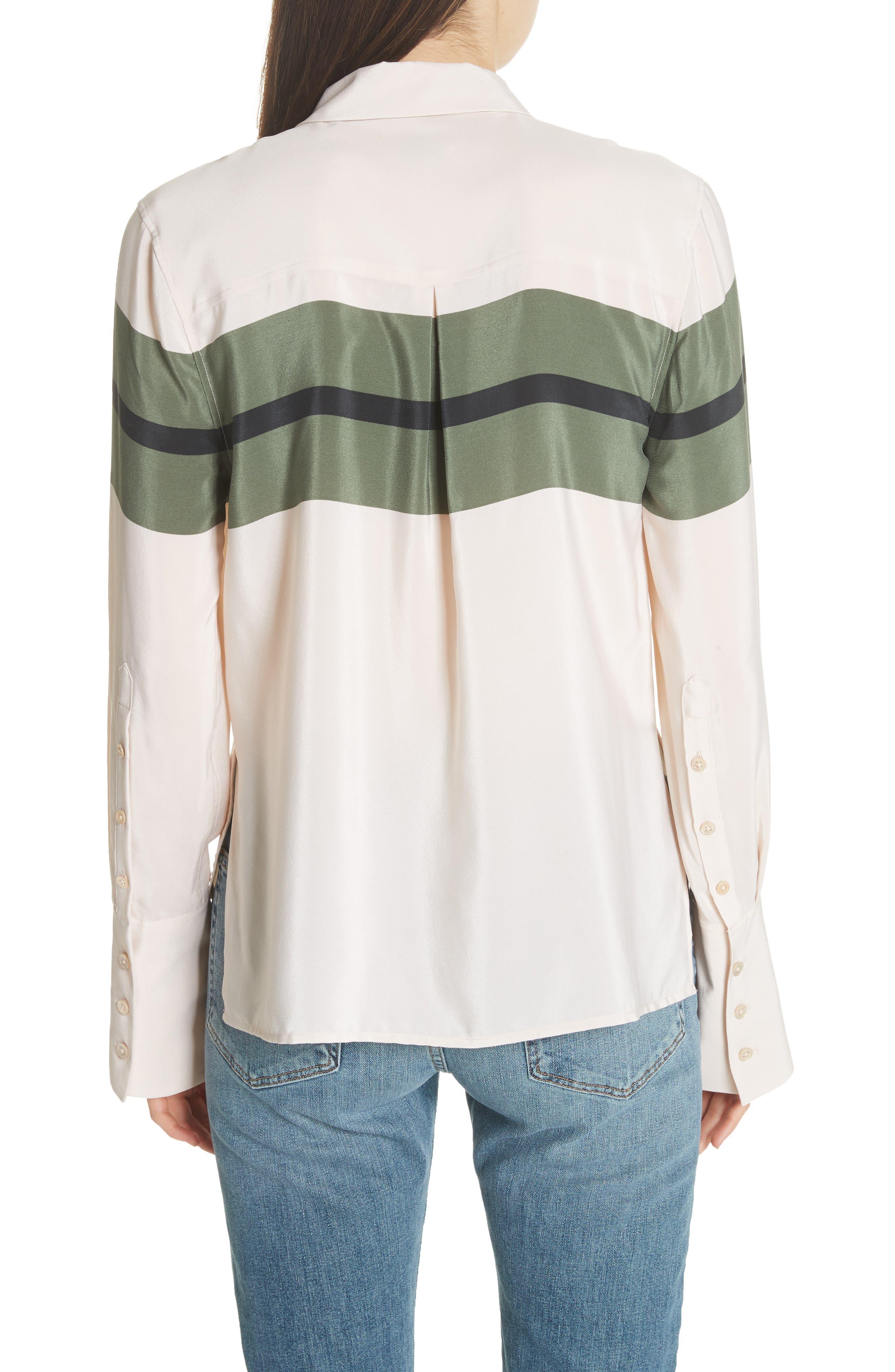 Huntley Stripe Block Silk Blouse,                             Alternate thumbnail 2, color,                             French Vanilla-Camouflage