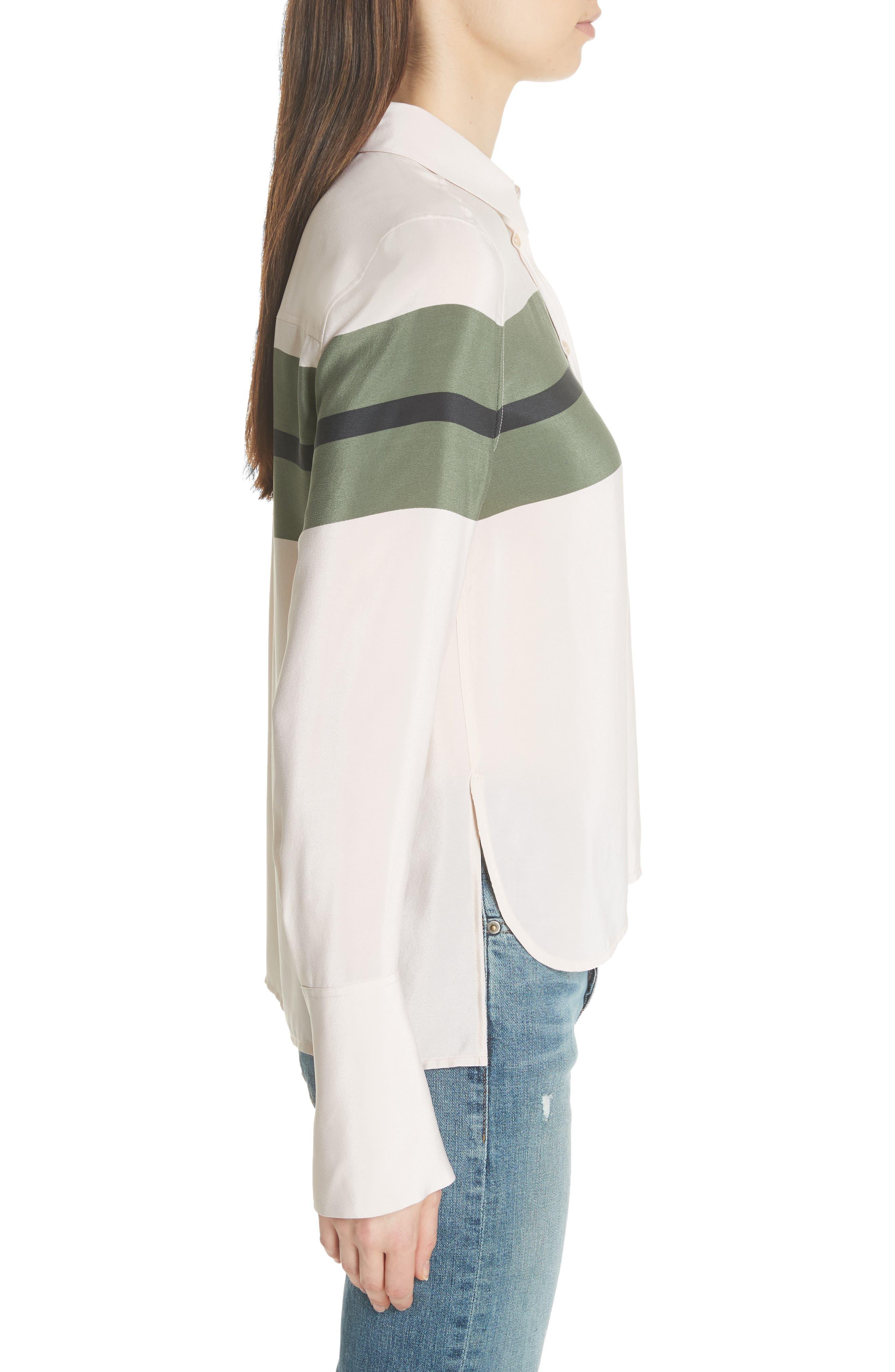 Huntley Stripe Block Silk Blouse,                             Alternate thumbnail 3, color,                             French Vanilla-Camouflage