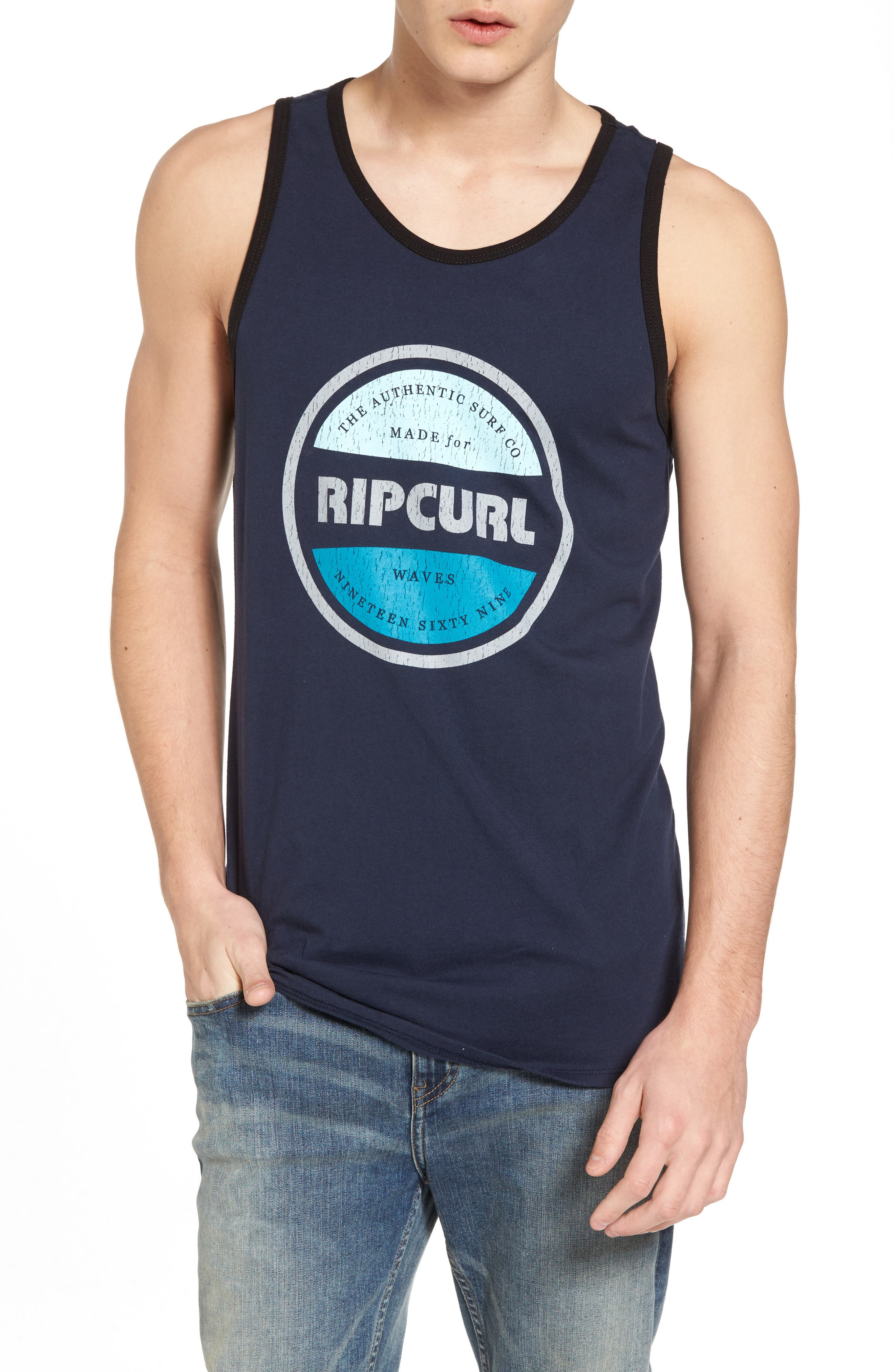 Authentic Ringer Tank,                         Main,                         color, Navy