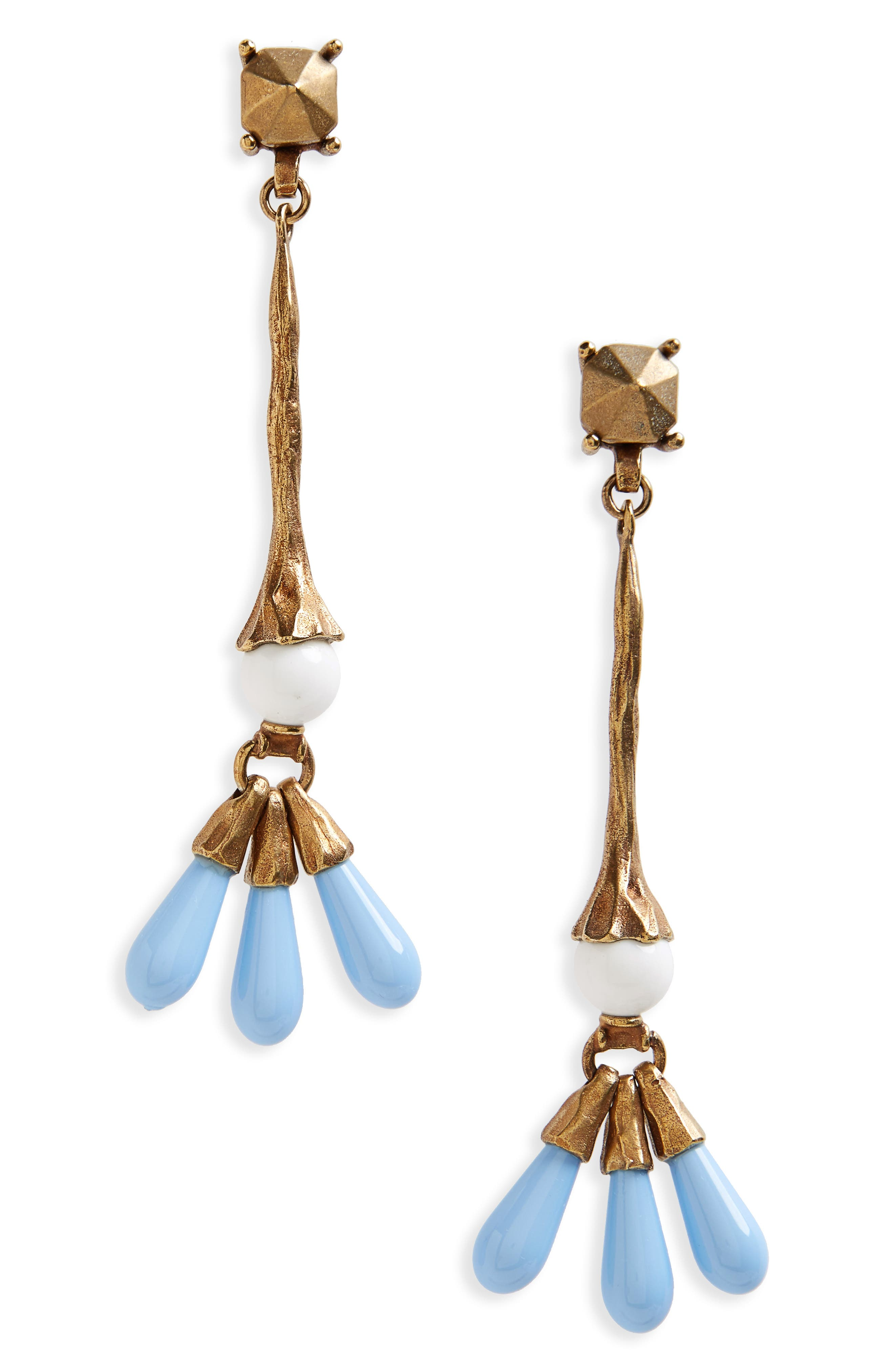 Drop Earrings,                         Main,                         color, A.Gold/ Bianco/ Turchese