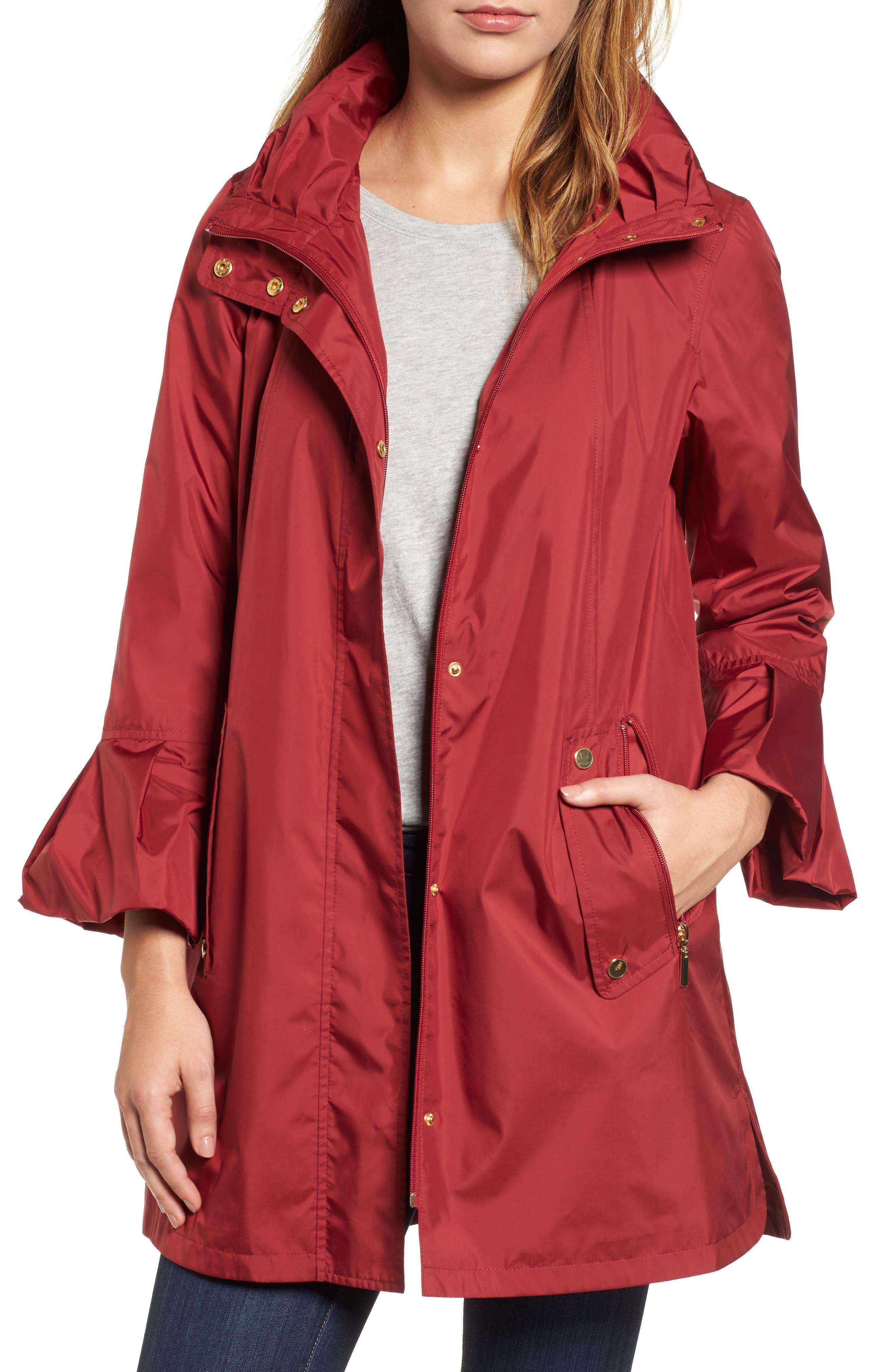 Flare Sleeve Packable Swing Jacket,                             Main thumbnail 1, color,                             Garnet