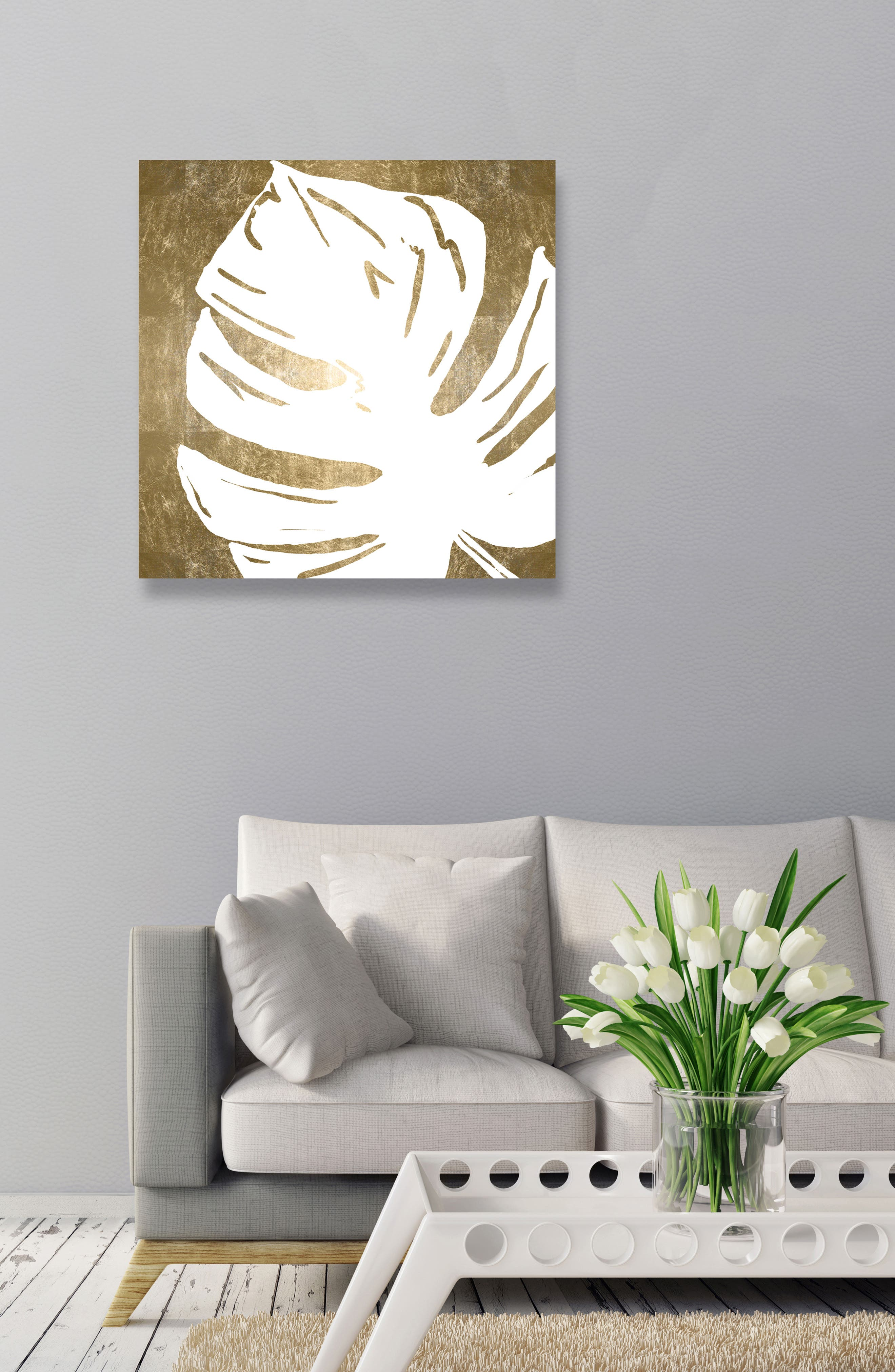 Tropical Leaves Square III Canvas Wall Art,                             Alternate thumbnail 2, color,                             White