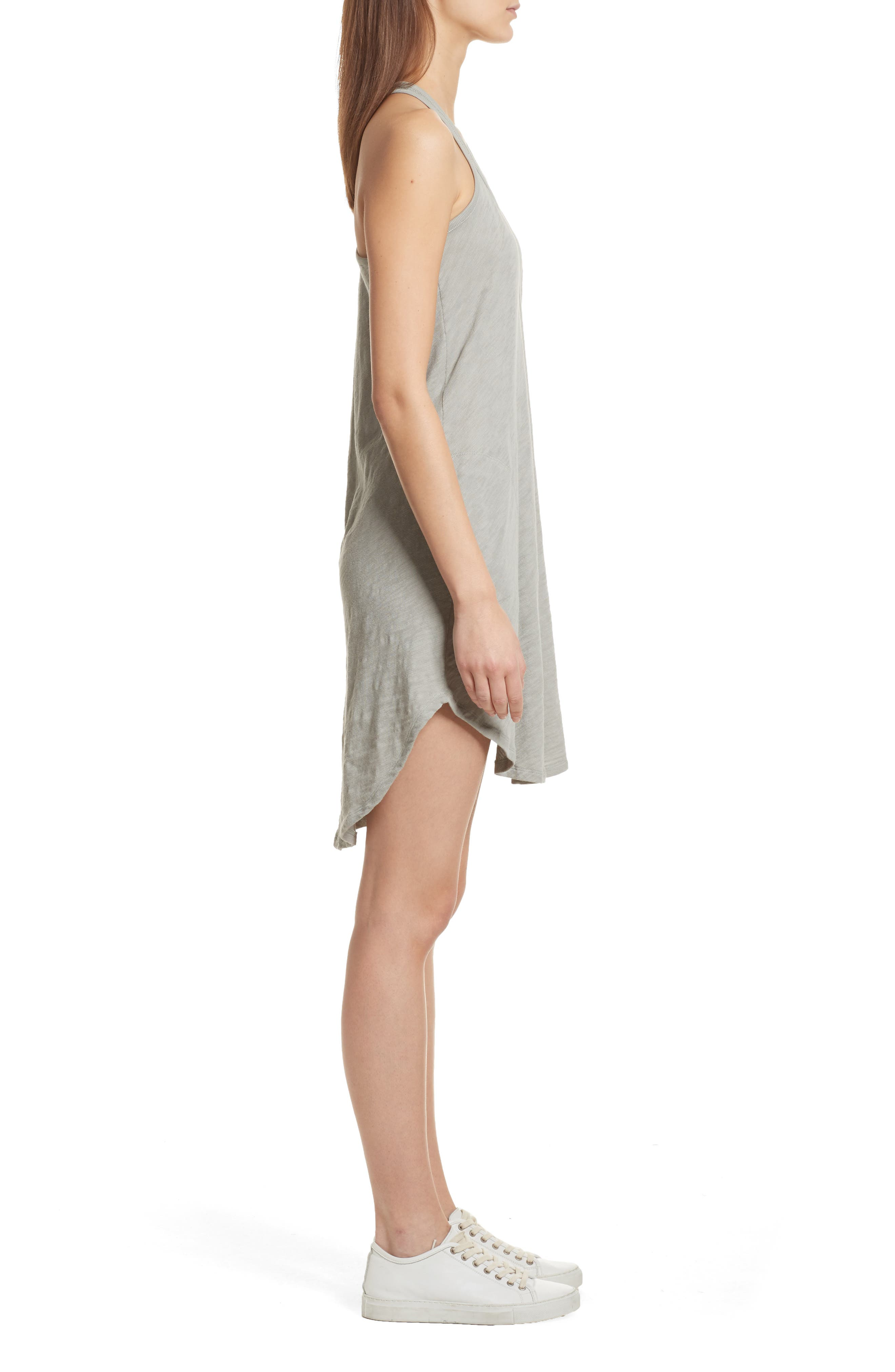 Cotton Trapeze Tank Dress,                             Alternate thumbnail 4, color,                             Pale Moss