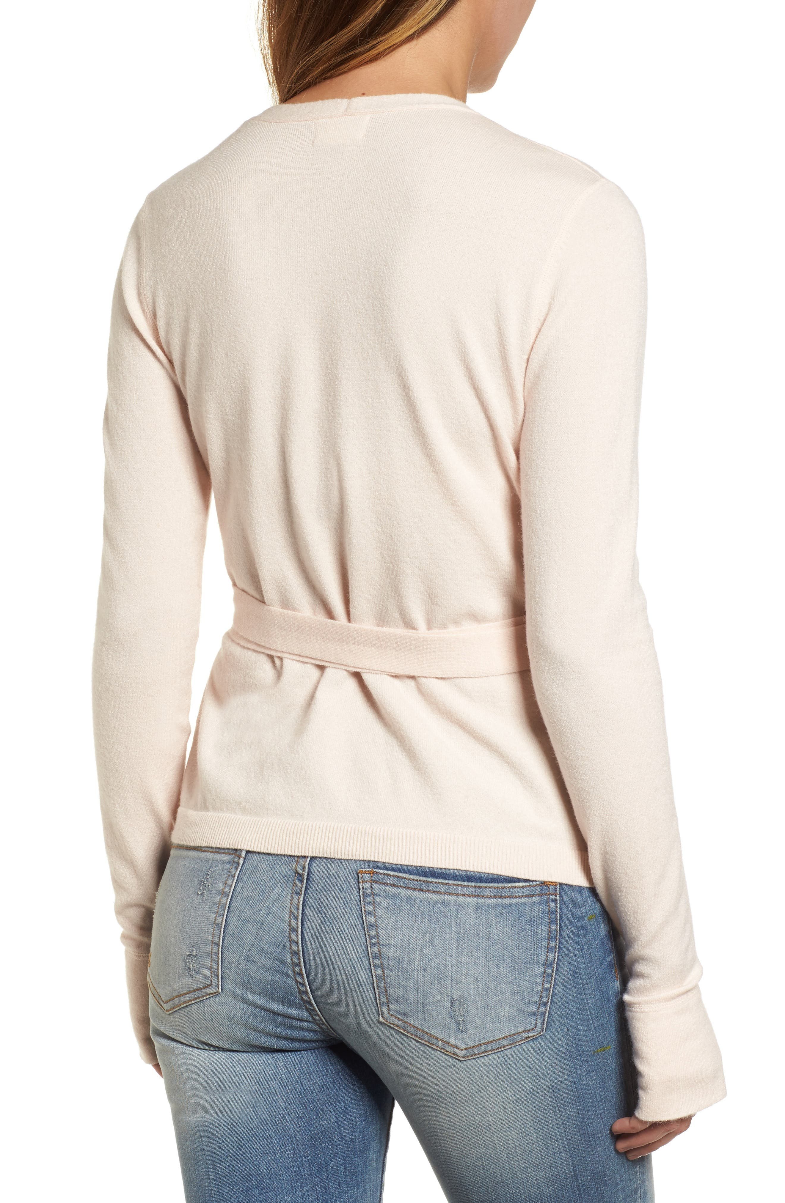 Off-Duty Ballet Tie Front Sweater,                             Alternate thumbnail 2, color,                             Pink Morganite
