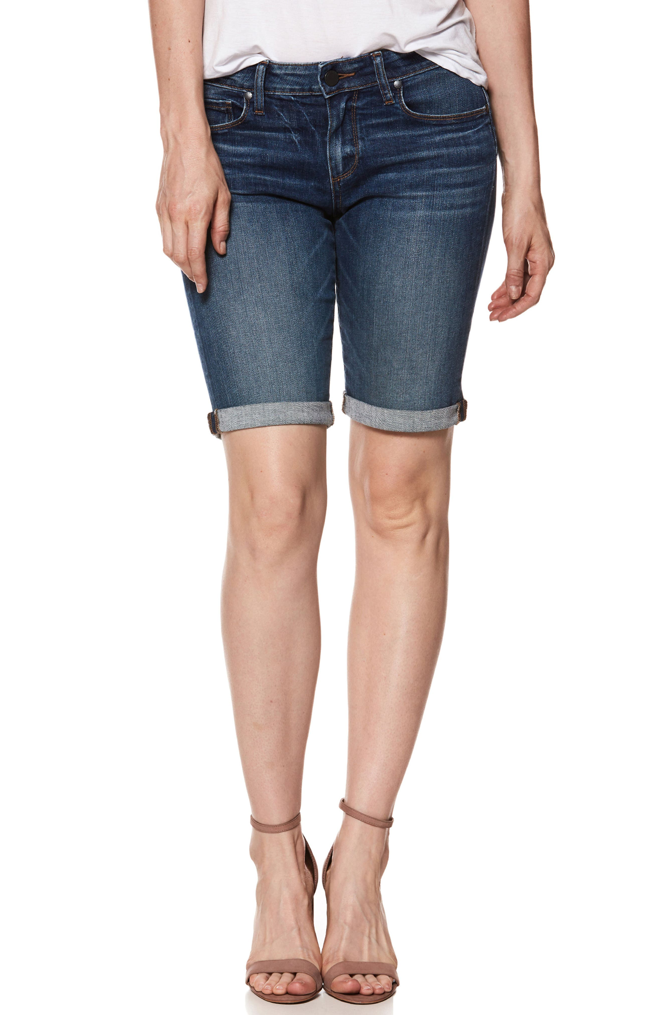 Transcend Vintage - Jax Denim Bermuda Shorts,                             Main thumbnail 1, color,                             Bloomfield