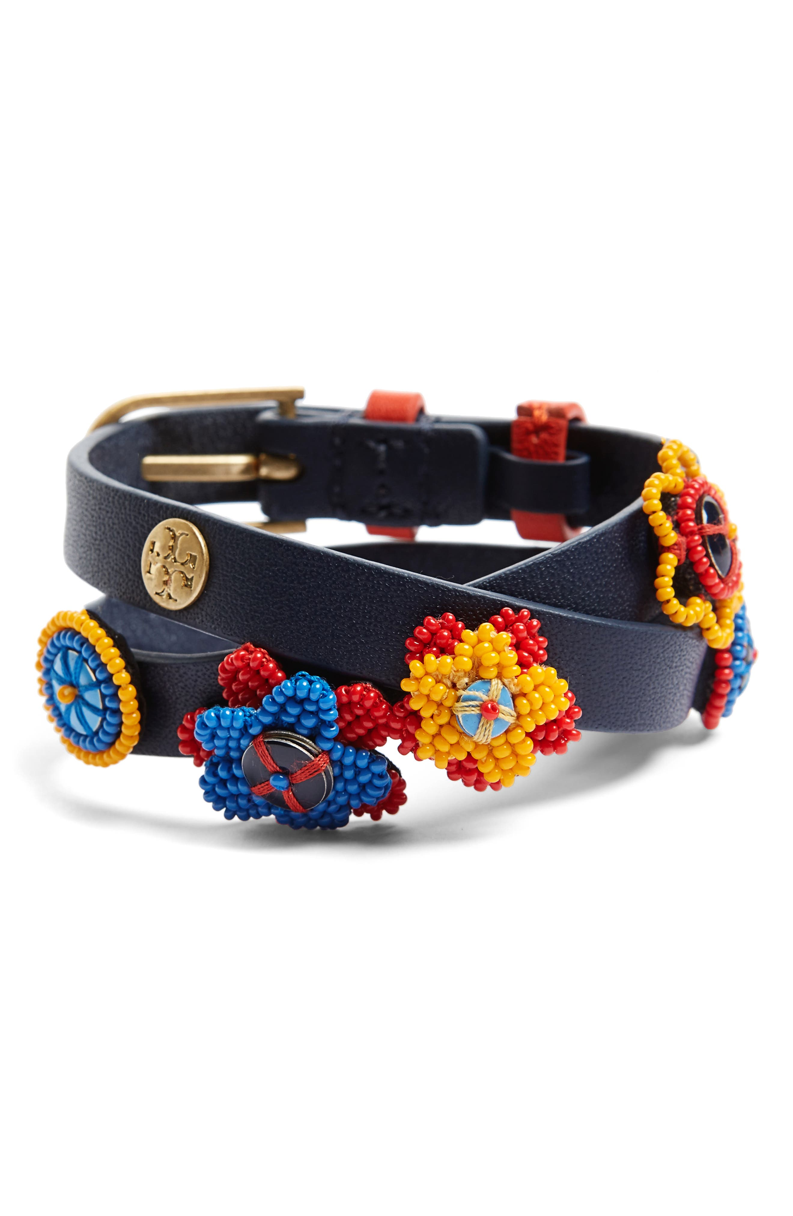 Seed Bead Flower Buckle Bracelet,                             Main thumbnail 1, color,                             Tory Navy/ Vintage Gold