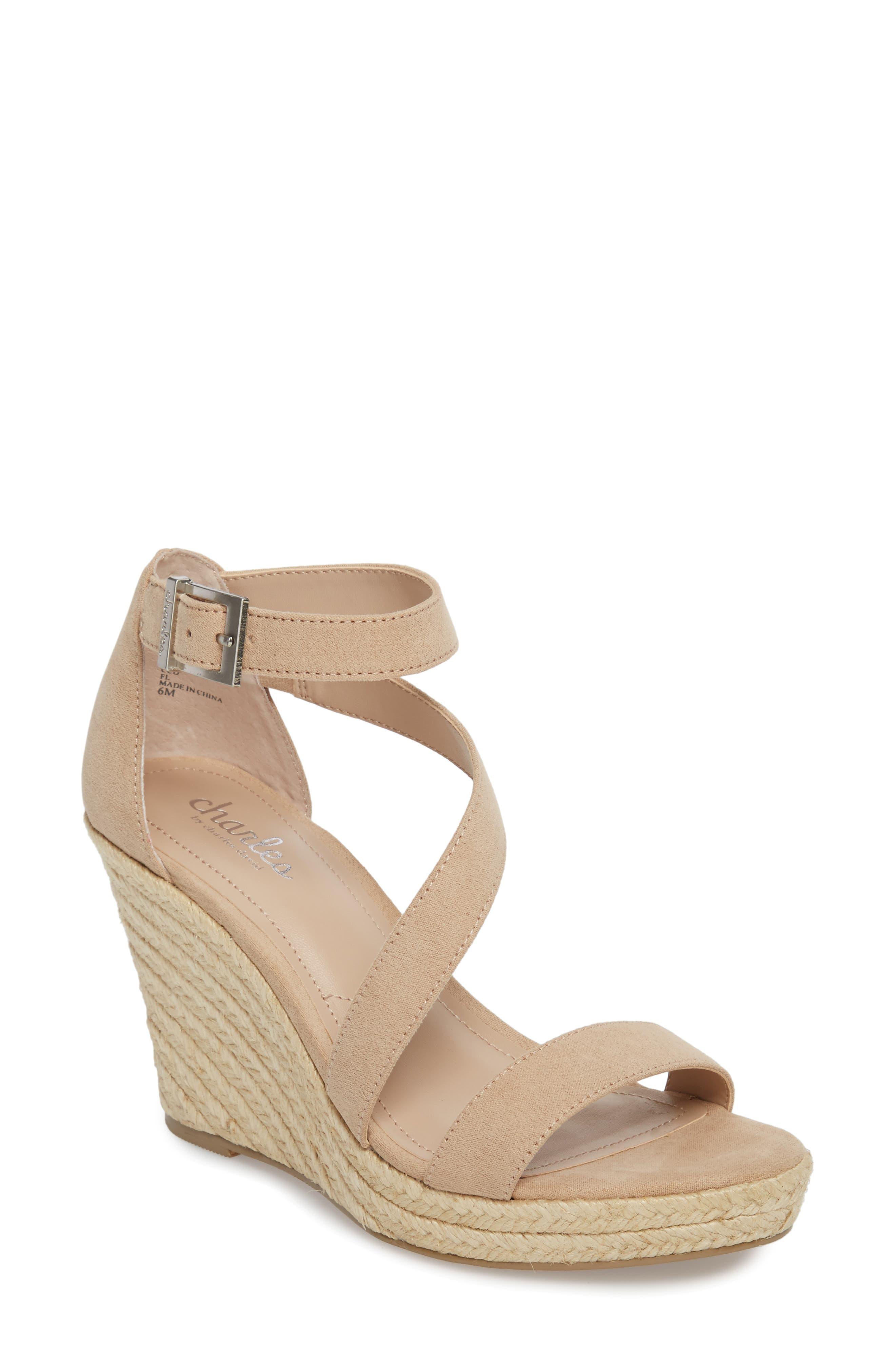 Lou Asymmetrical Wedge Sandal,                         Main,                         color, Nude Suede