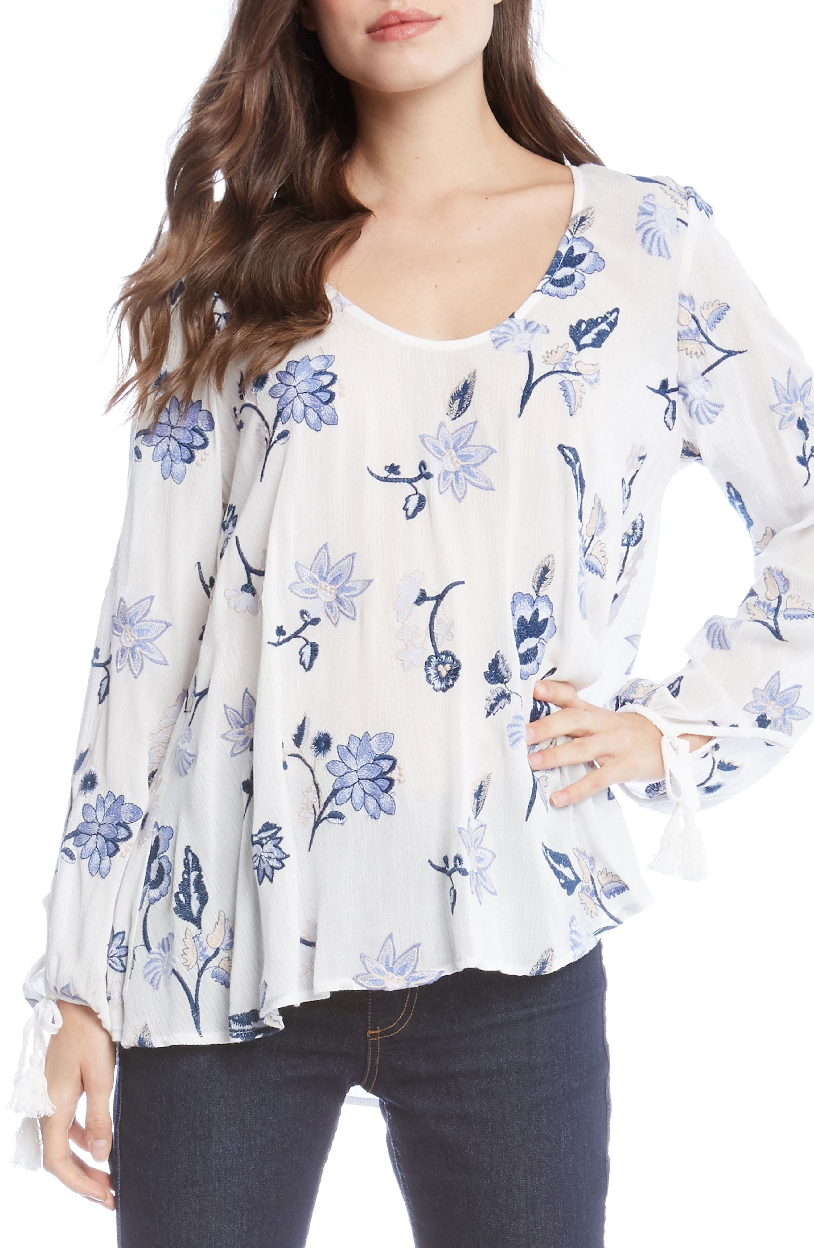 Embroidered Tassel Sleeve Gauze Top,                         Main,                         color, Off White