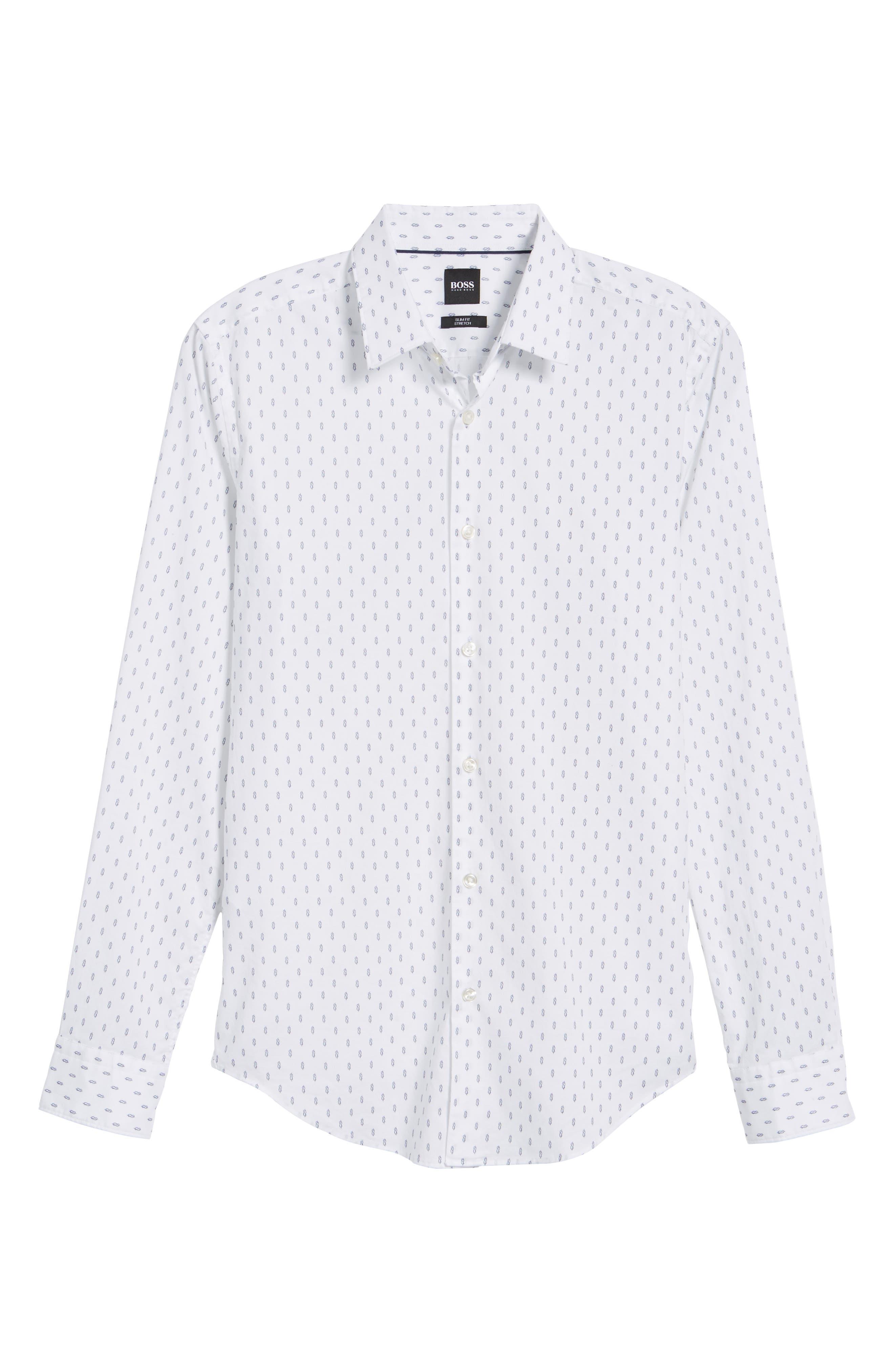 Ronni Slim Fit Print Sport Shirt,                             Alternate thumbnail 6, color,                             White