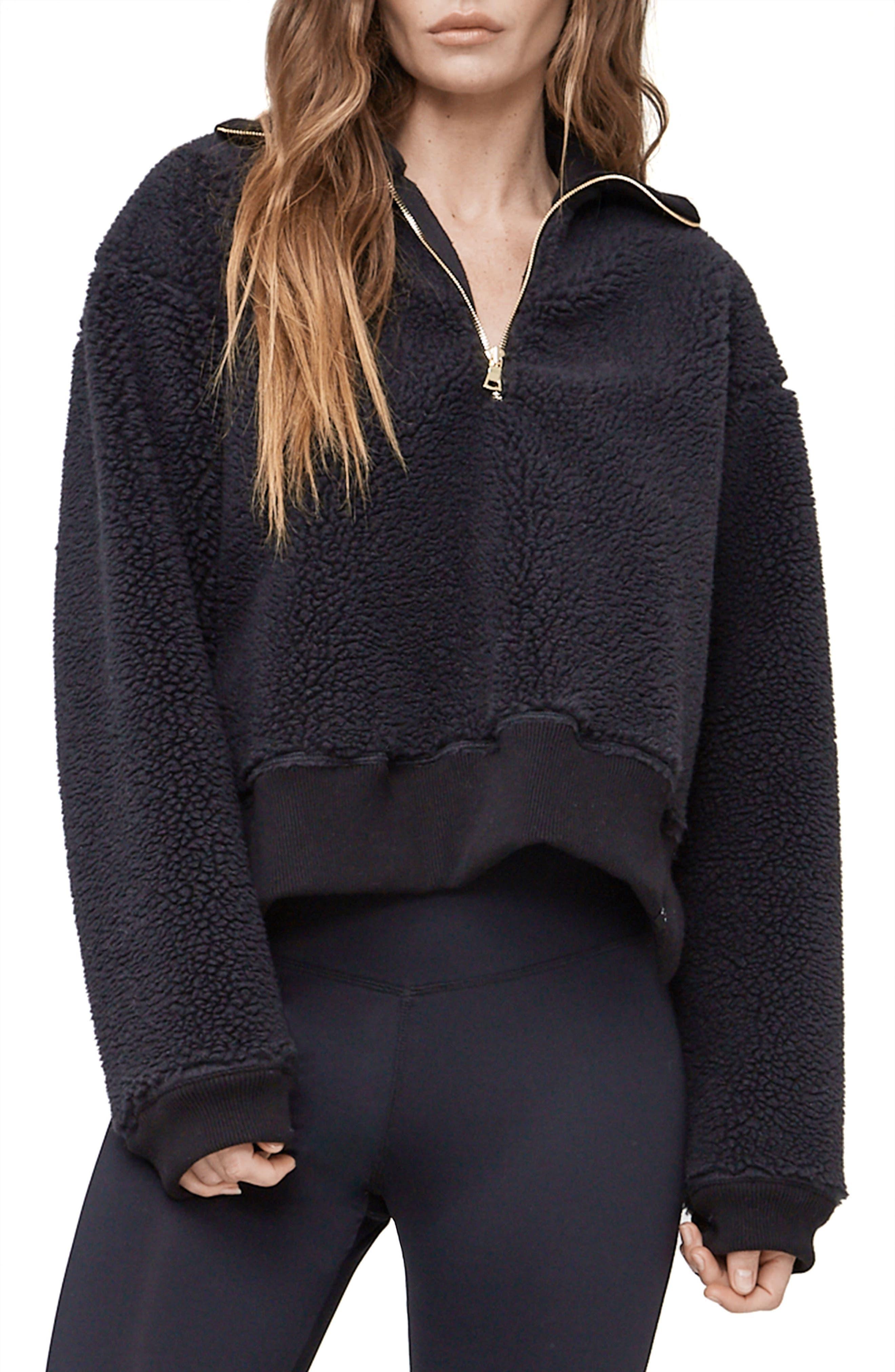 Daphne Fleece Pullover,                         Main,                         color, Black