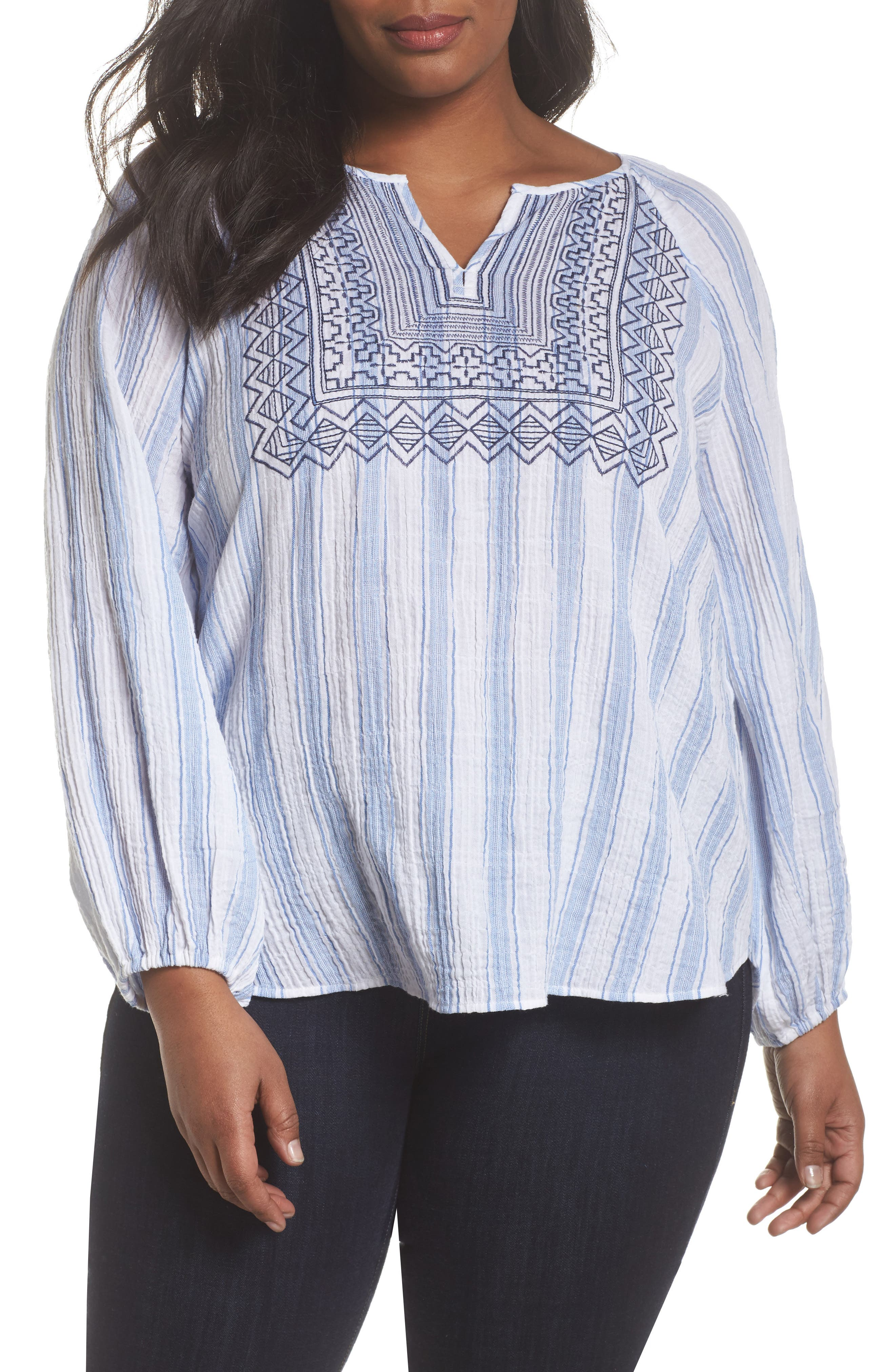 Embroidered Stripe Top,                         Main,                         color, Patina Blue