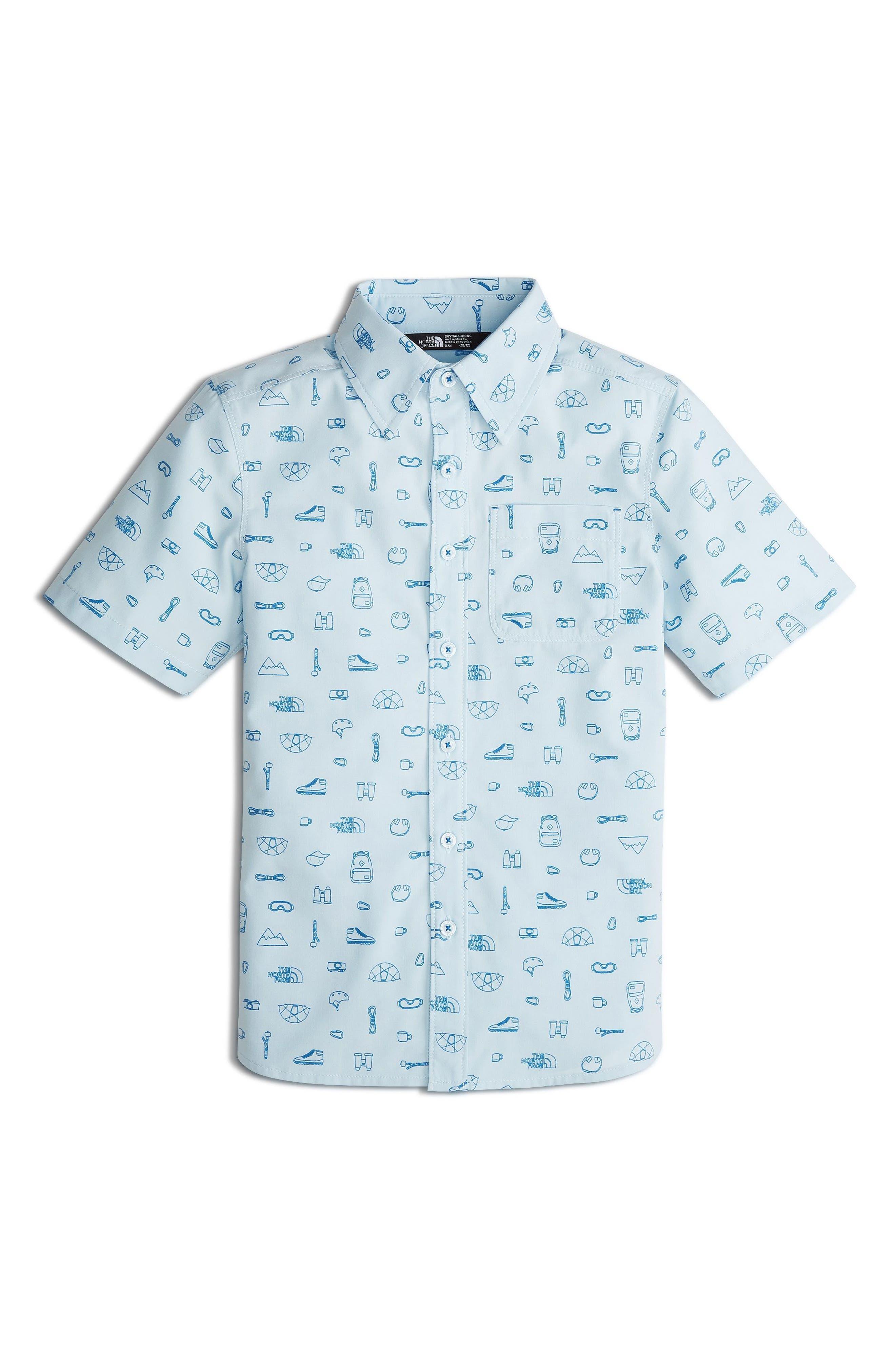 Pursuit Print Woven Shirt,                         Main,                         color, Pale Blue Camp Essentials