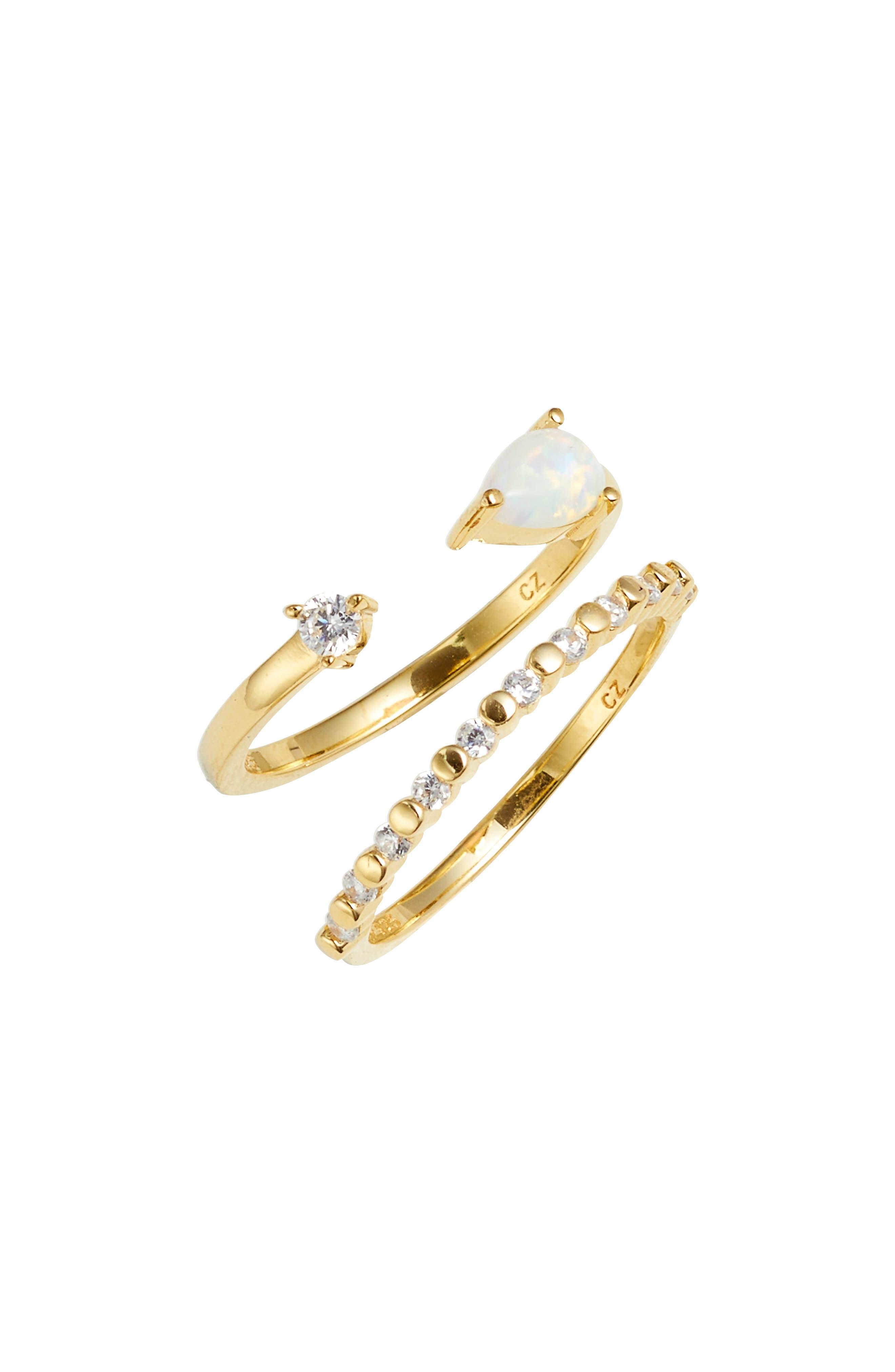 Set of 2 Opal Cuff Rings,                             Main thumbnail 1, color,                             Gold
