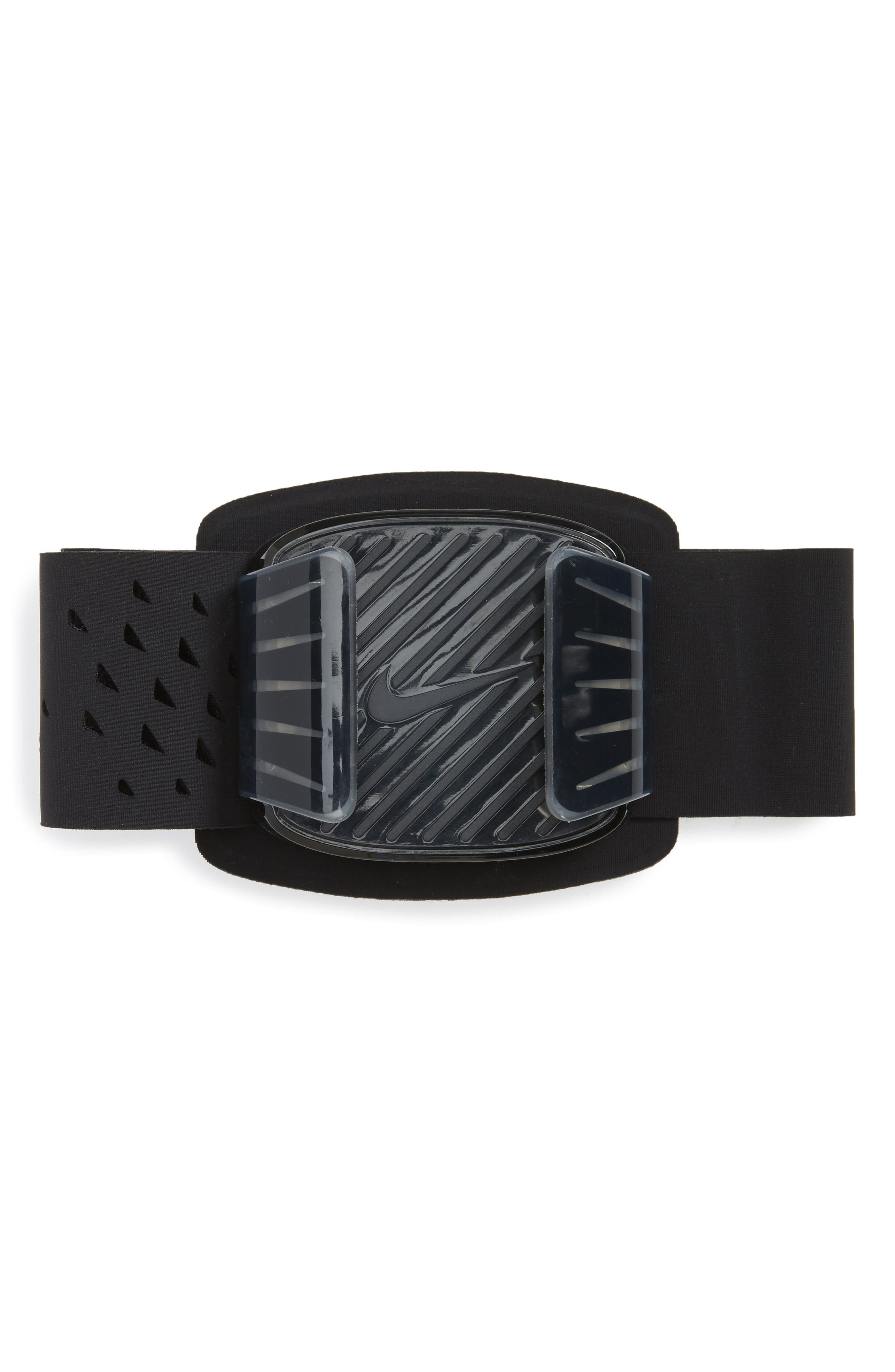 Universal Running Armband,                             Main thumbnail 1, color,                             Black/ Clear/ Silver