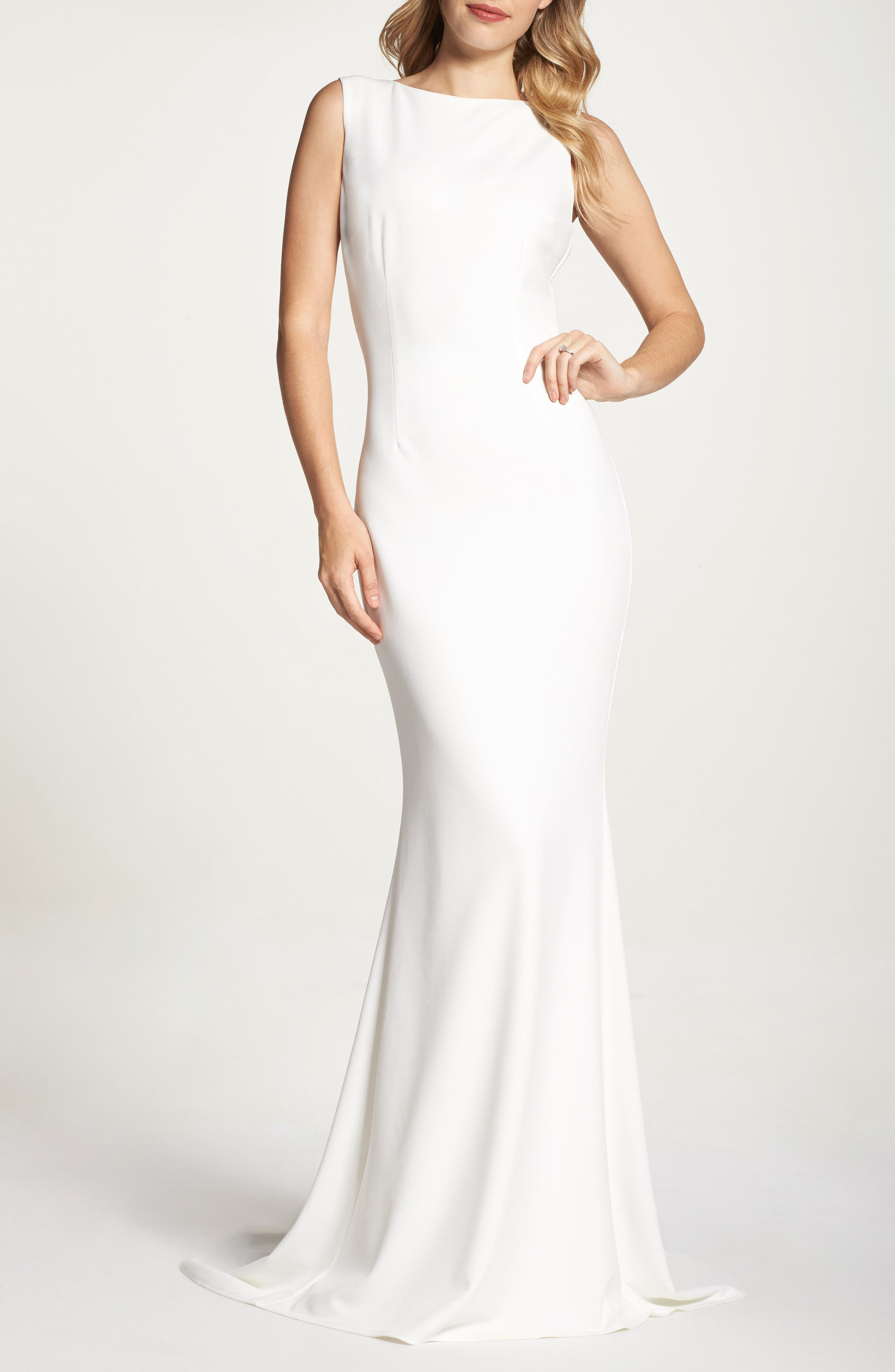 Low Back Crepe Mermaid Gown,                             Alternate thumbnail 2, color,                             Ivory