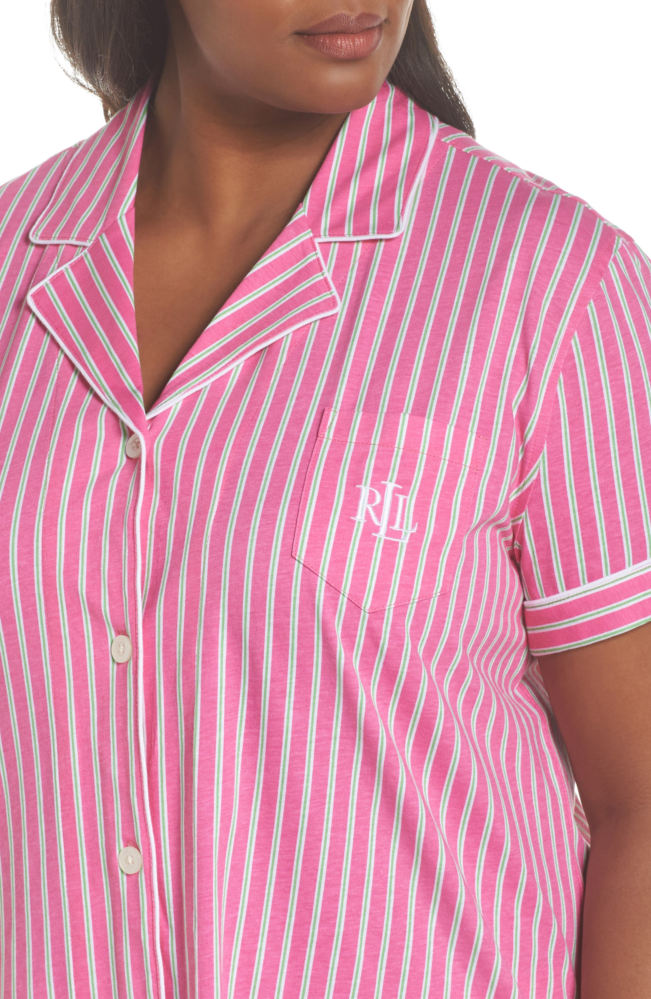 Bermuda Pajamas,                             Alternate thumbnail 5, color,                             Pink Stripe