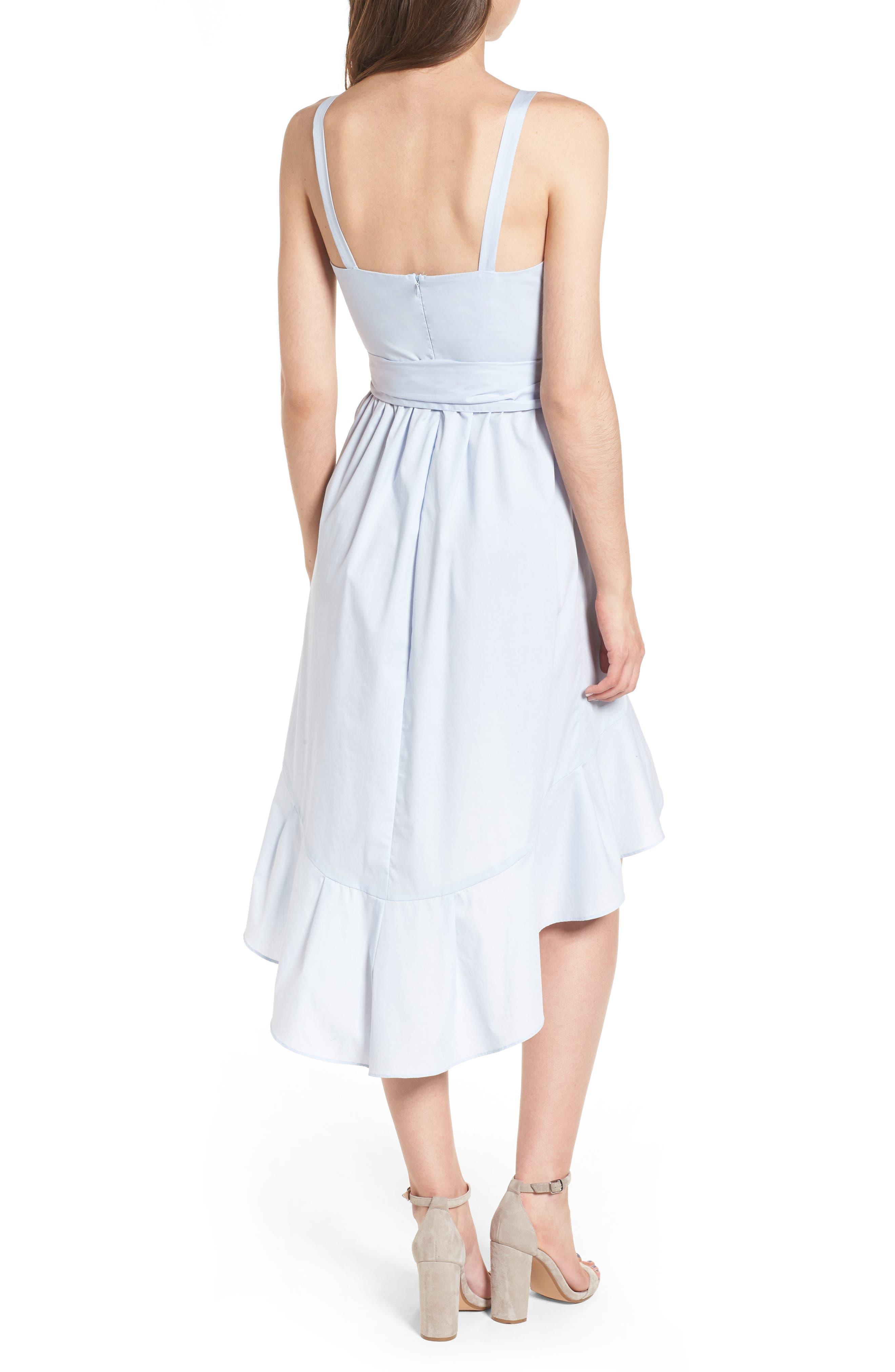 Poplin Tie Waist Dress,                             Alternate thumbnail 3, color,                             Pale Blue