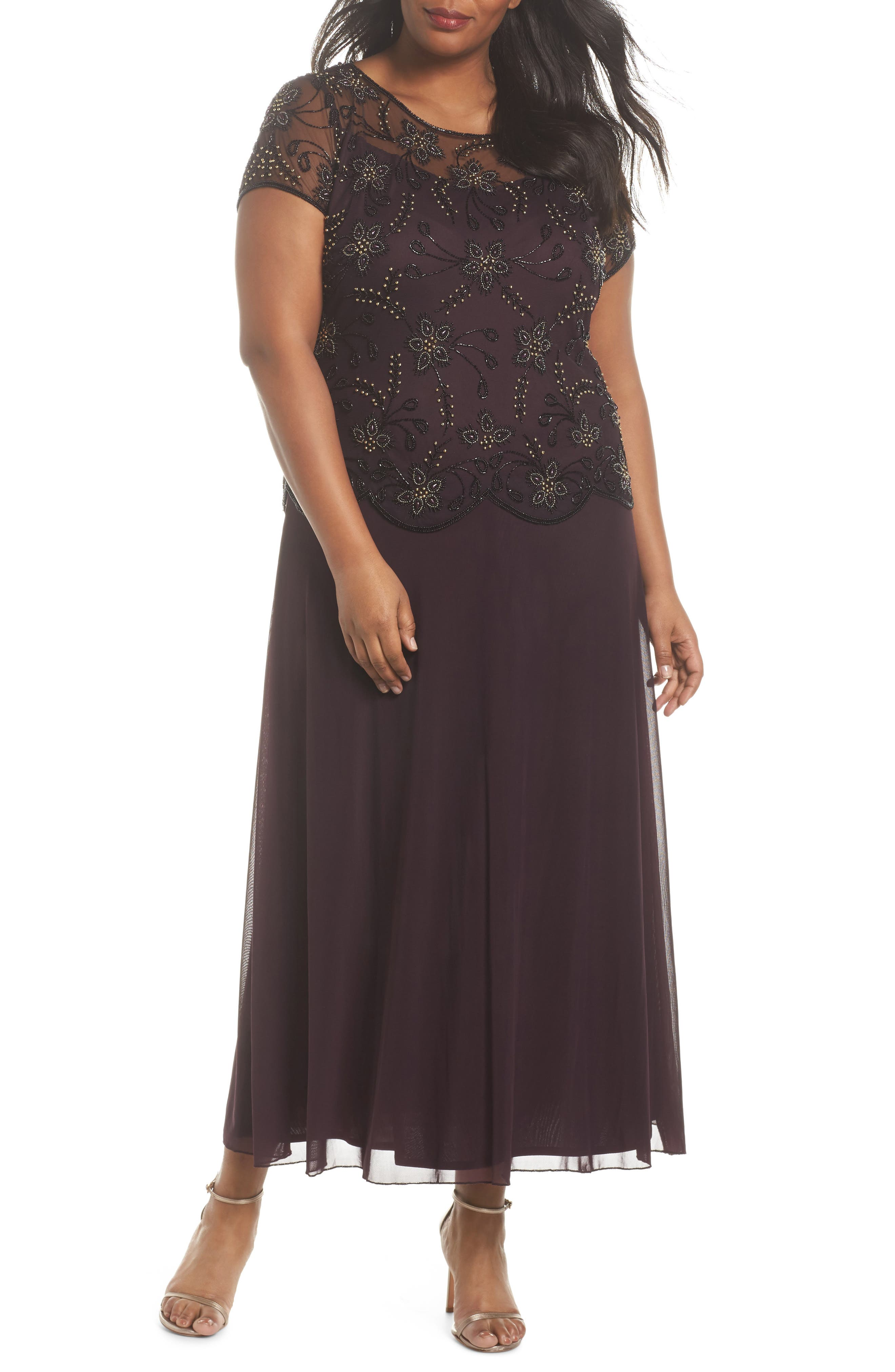 Embellished Mock Two-Piece Maxi Dress,                         Main,                         color, Wine
