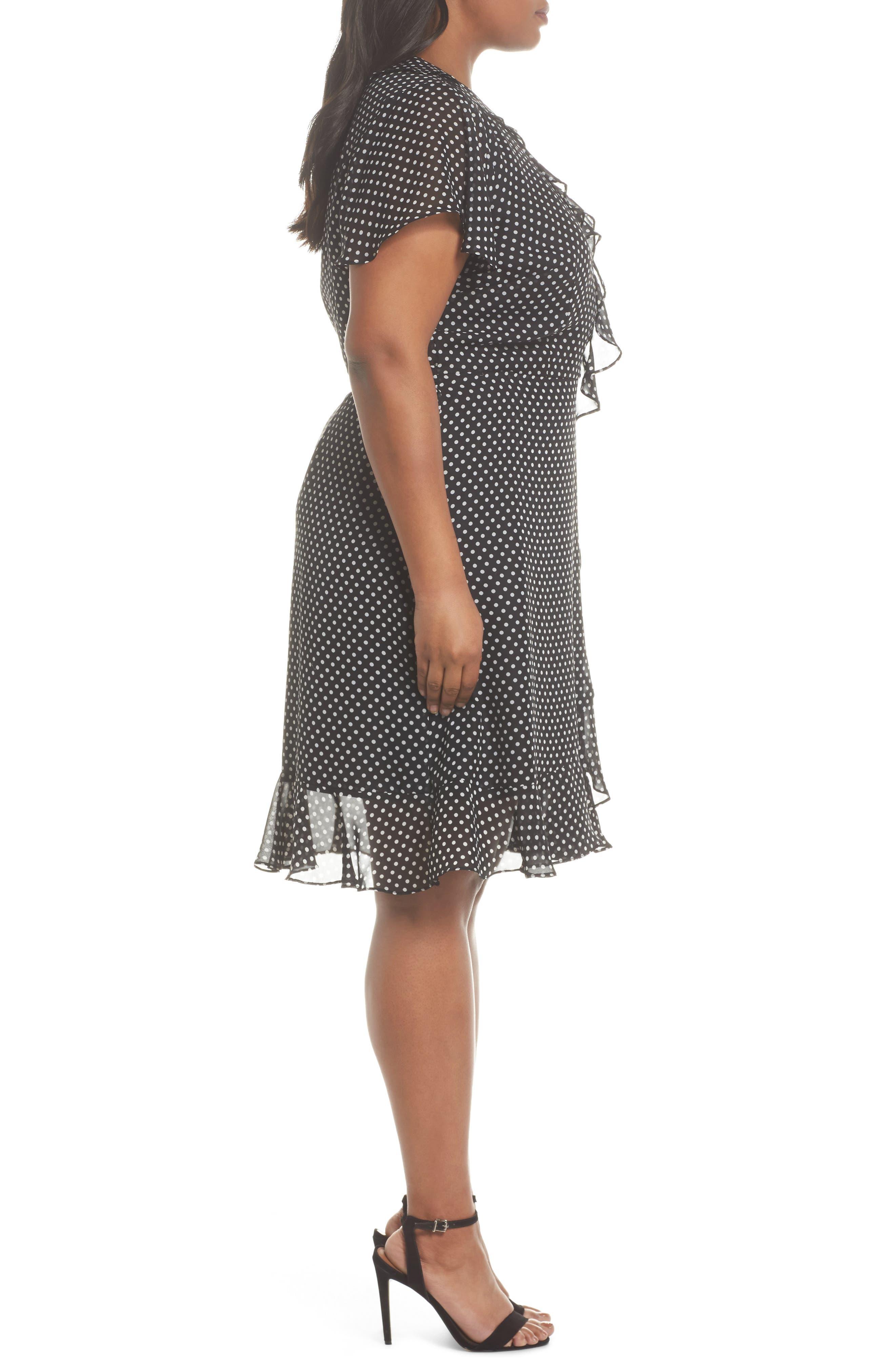 Polka Dot Faux Wrap Ruffle Dress,                             Alternate thumbnail 3, color,                             Black/ Ivory