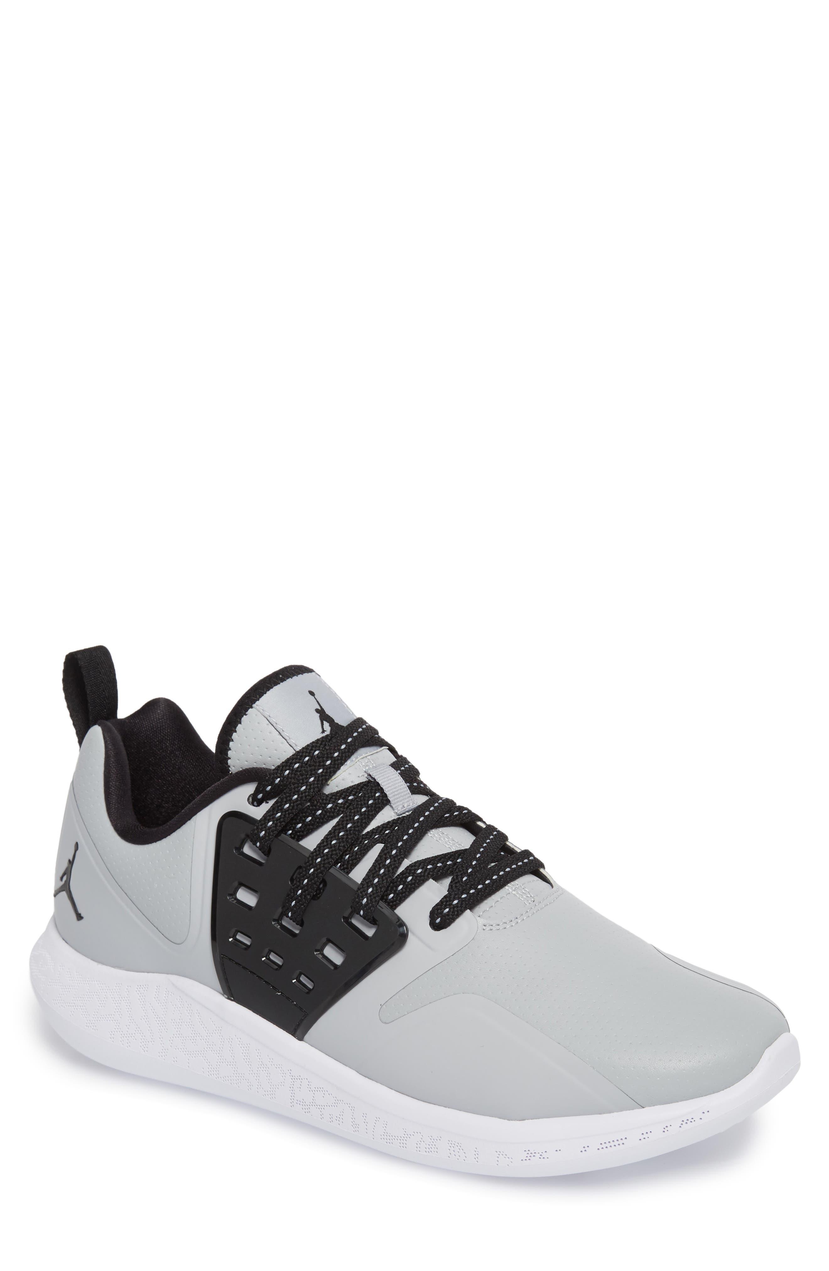 Jordan Grind Running Shoe,                             Main thumbnail 1, color,                             Wolf Grey/ Black/ White