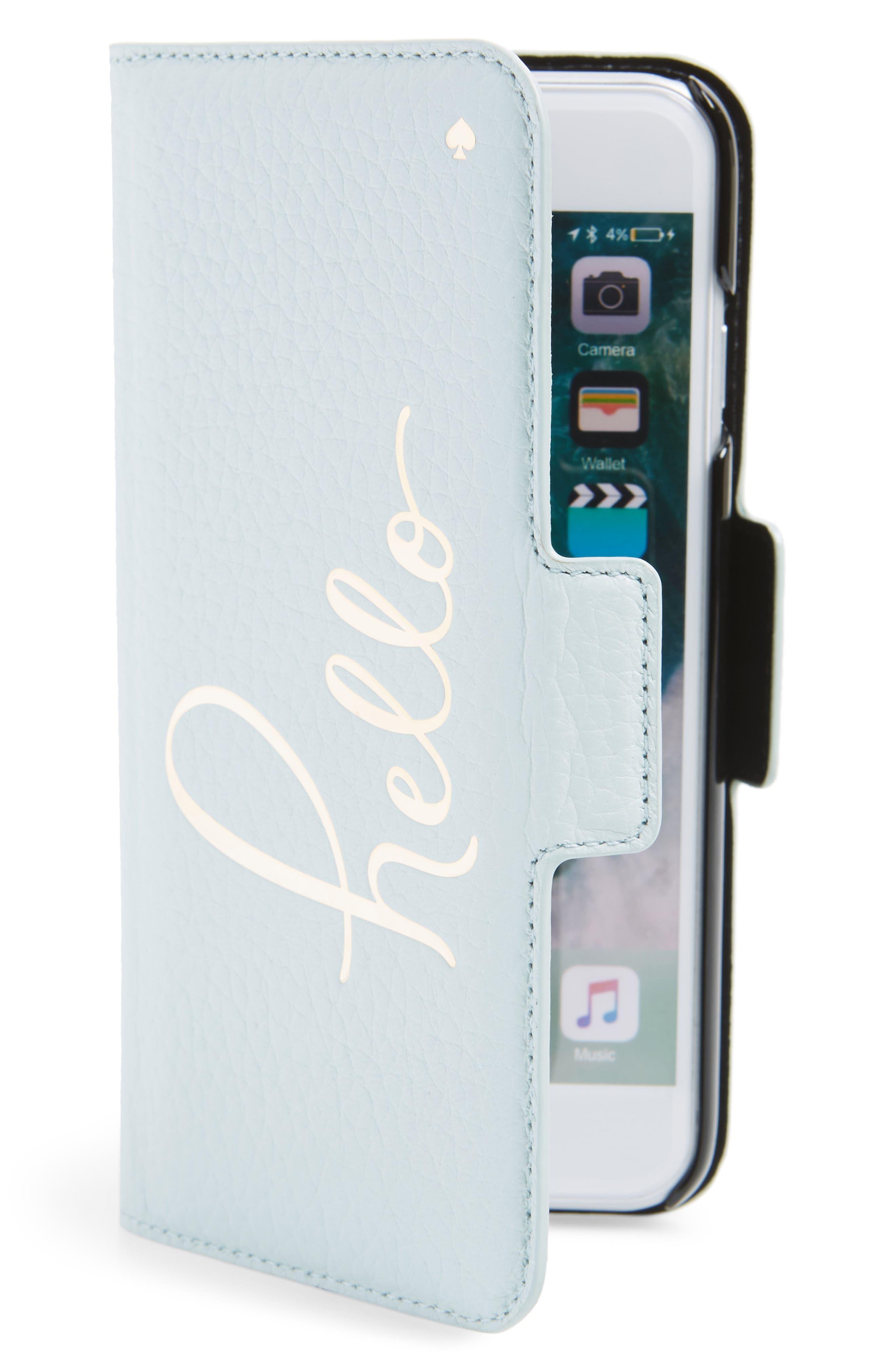 hello iPhone 7/8 & 7/8 Plus folio case,                         Main,                         color, Misty Mint