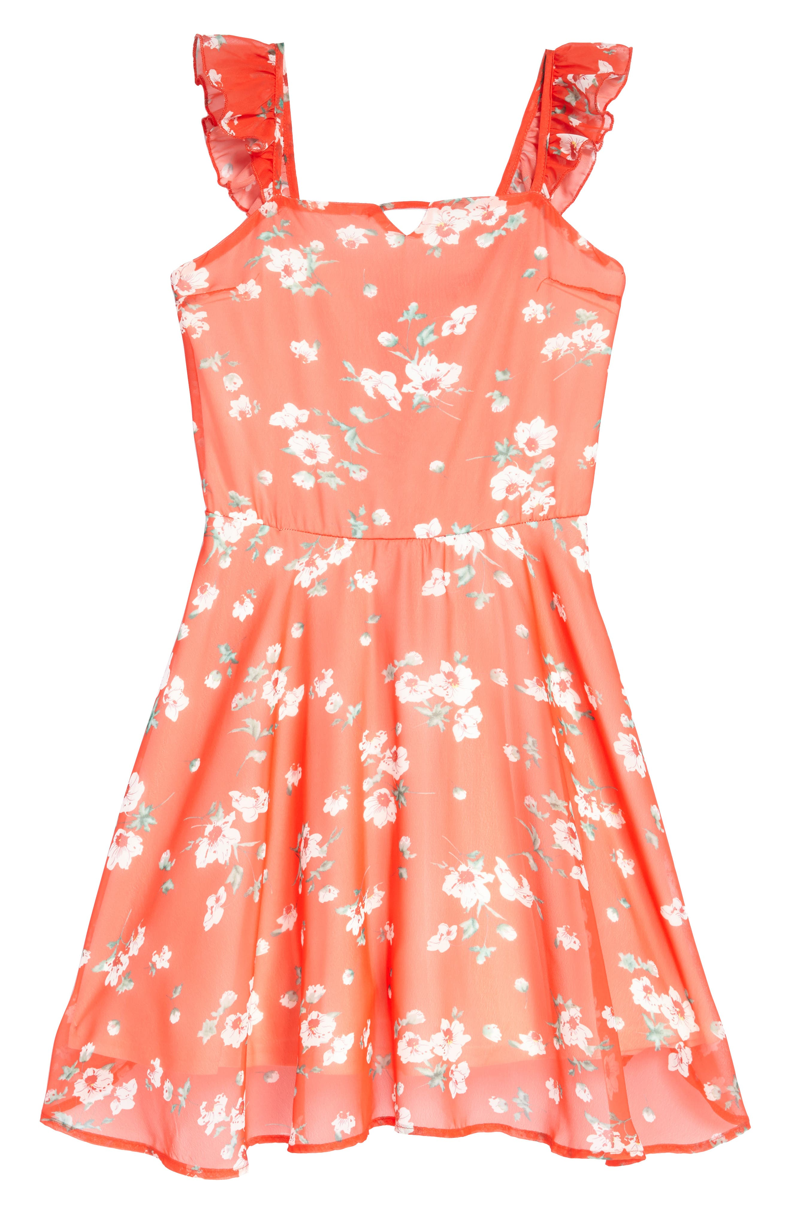 Main Image - Miss Behave Floral Ruffle Dress (Big Girls)