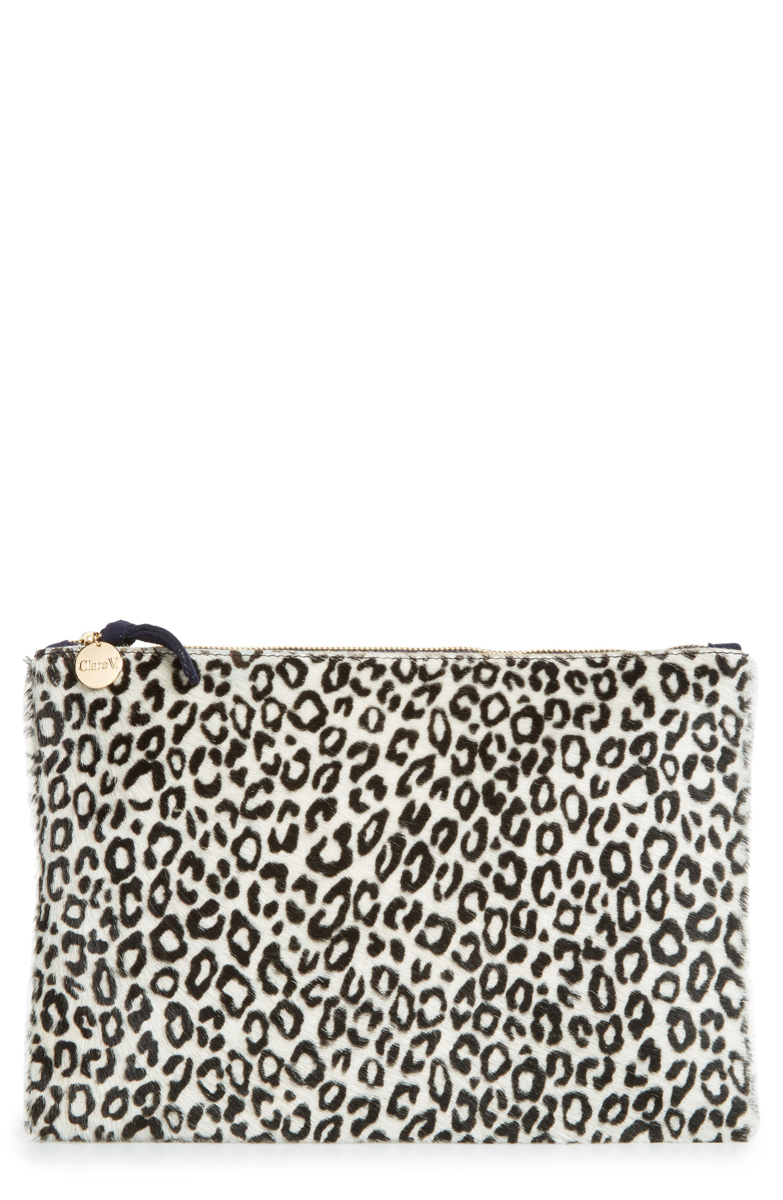 Alternate Image 1 Selected - Clare V. Star Ocelot Print Genuine Calf Hair Flat Clutch