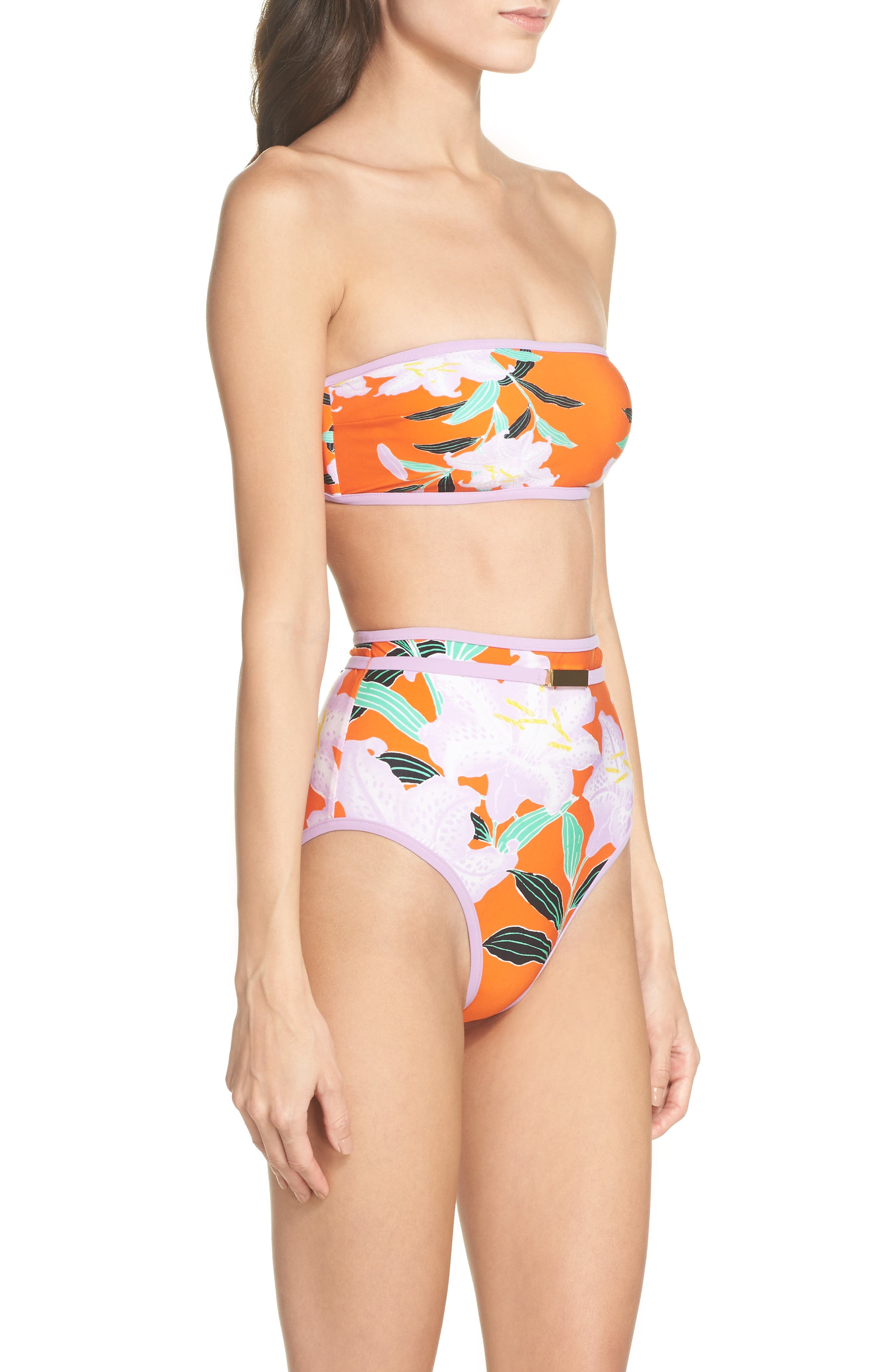 Print Bandeau Bikini Top,                             Alternate thumbnail 7, color,                             Argos Sm All Clem/ Lavender