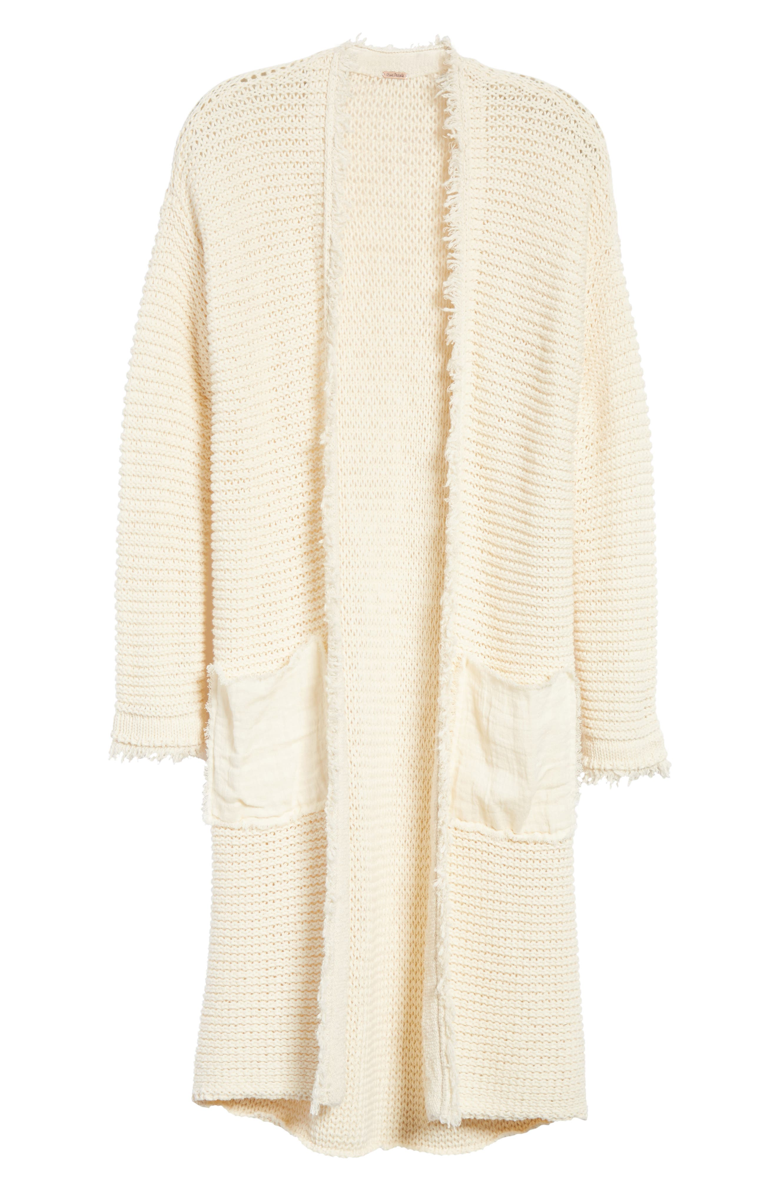 Woodstock Longline Cardigan,                             Alternate thumbnail 6, color,                             Ivory