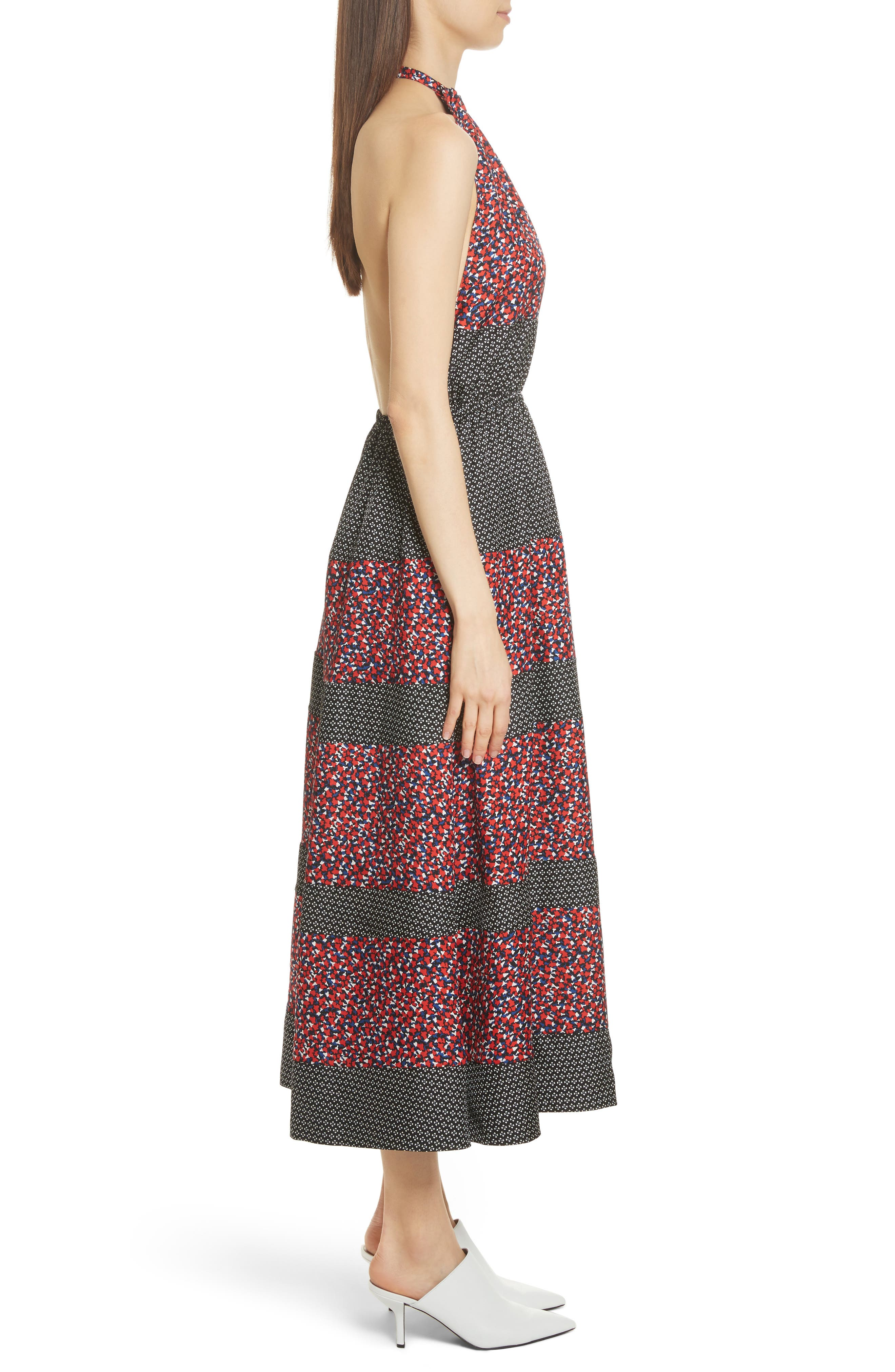 Mixed Print Halter Dress,                             Alternate thumbnail 2, color,                             Black Camp Floral