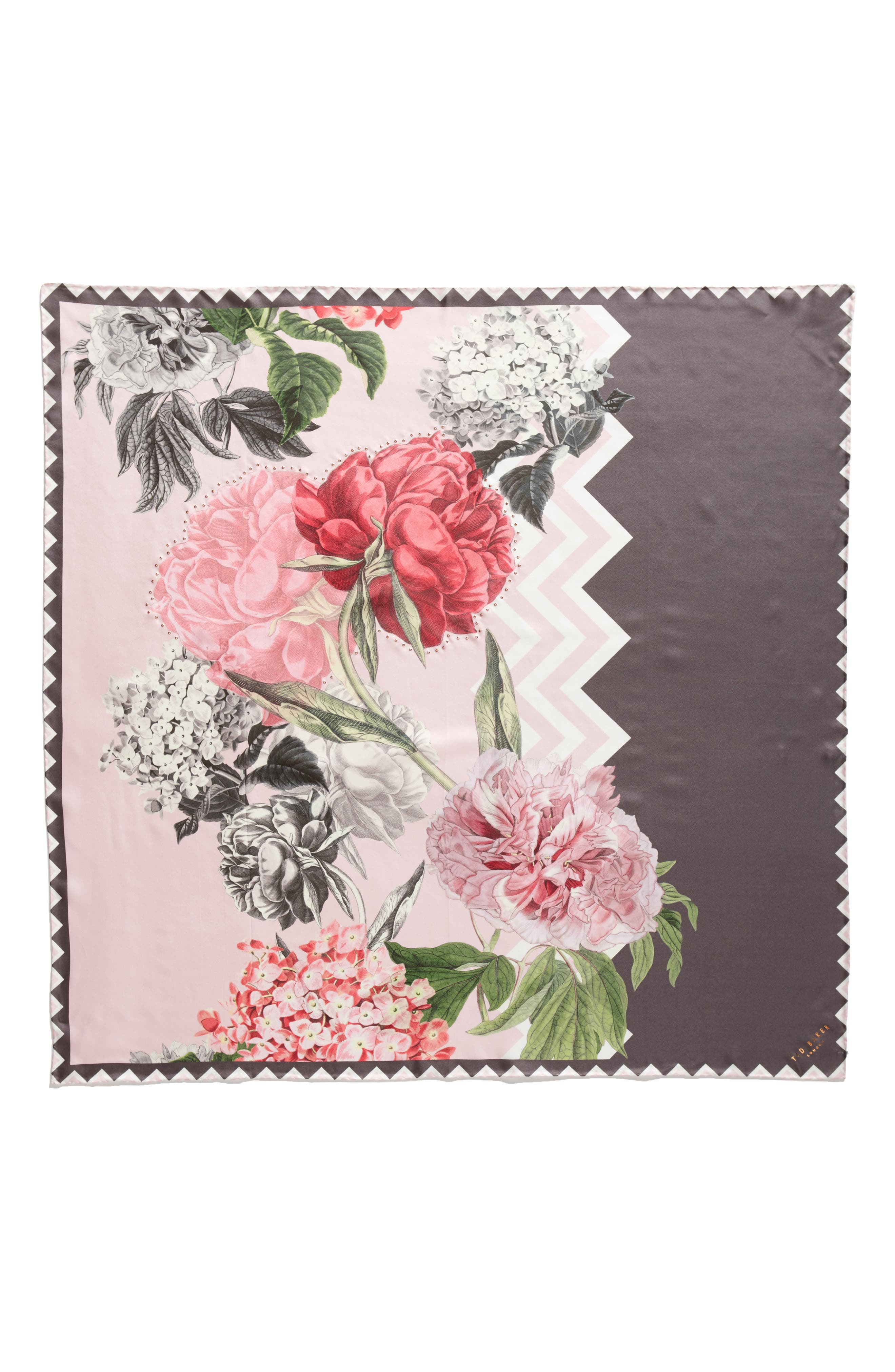 Palace Gardens Square Silk Scarf,                             Alternate thumbnail 3, color,                             Dusky Pink