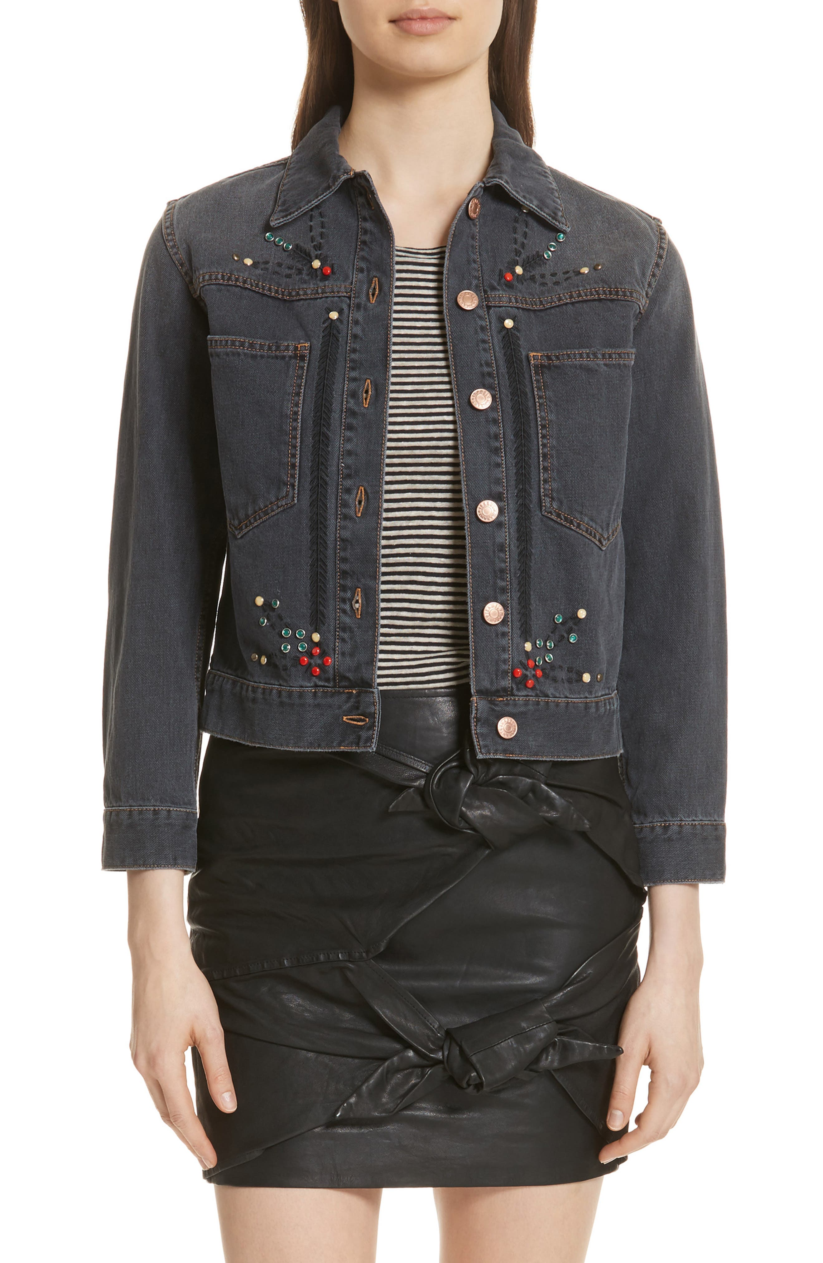 Alternate Image 1 Selected - Isabel Marant Étoile Cabella Embellished Denim Jacket