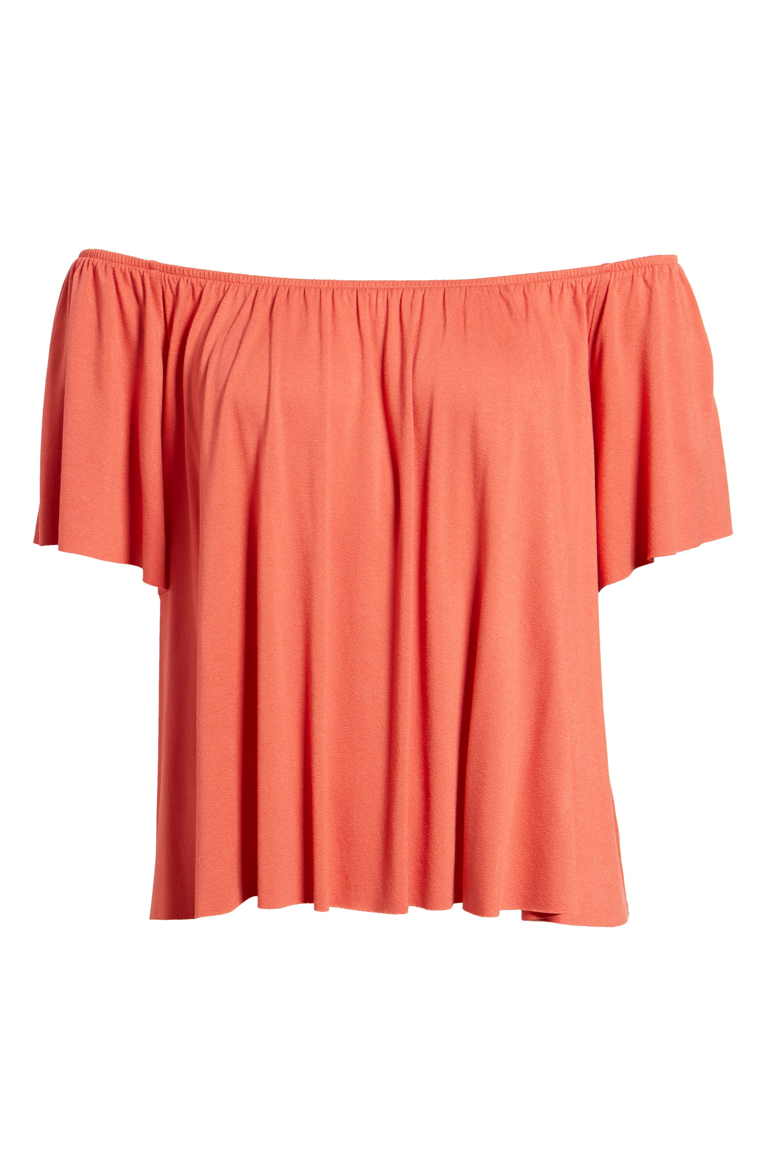 Off the Shoulder Top,                             Alternate thumbnail 6, color,                             Rust Sienna
