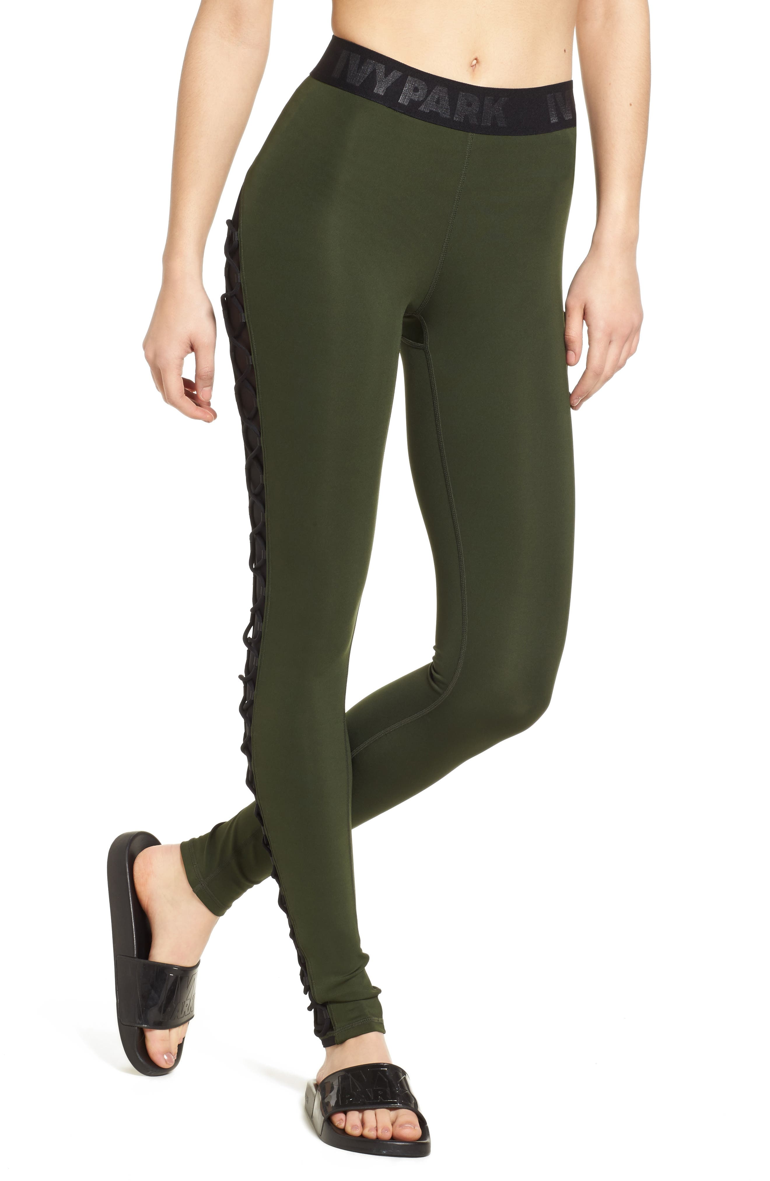 Alternate Image 1 Selected - Ivy Park® Mesh Lace-Up Leggings