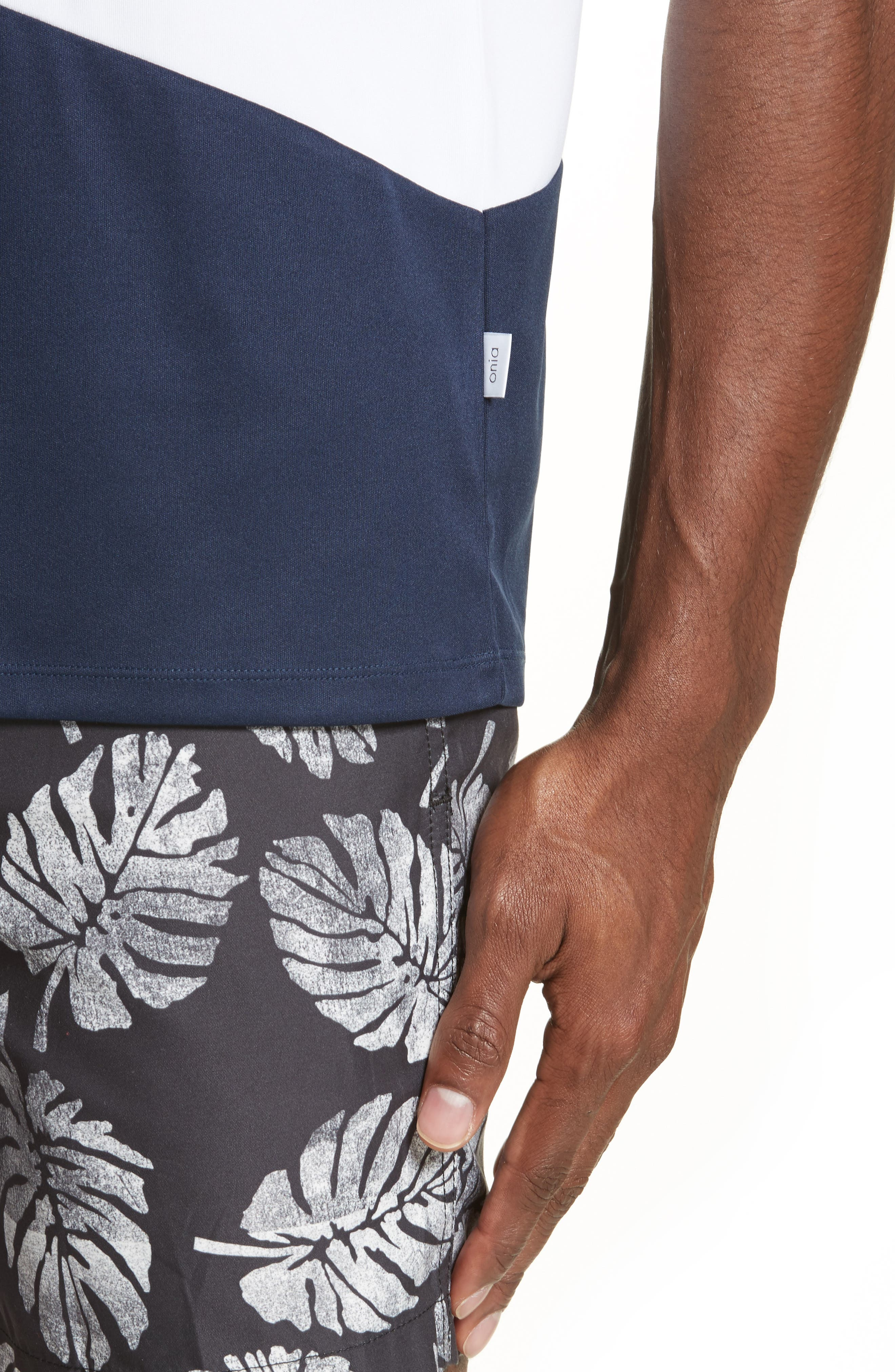 Colorblock Crewneck T-Shirt,                             Alternate thumbnail 4, color,                             Deep Navy/ White