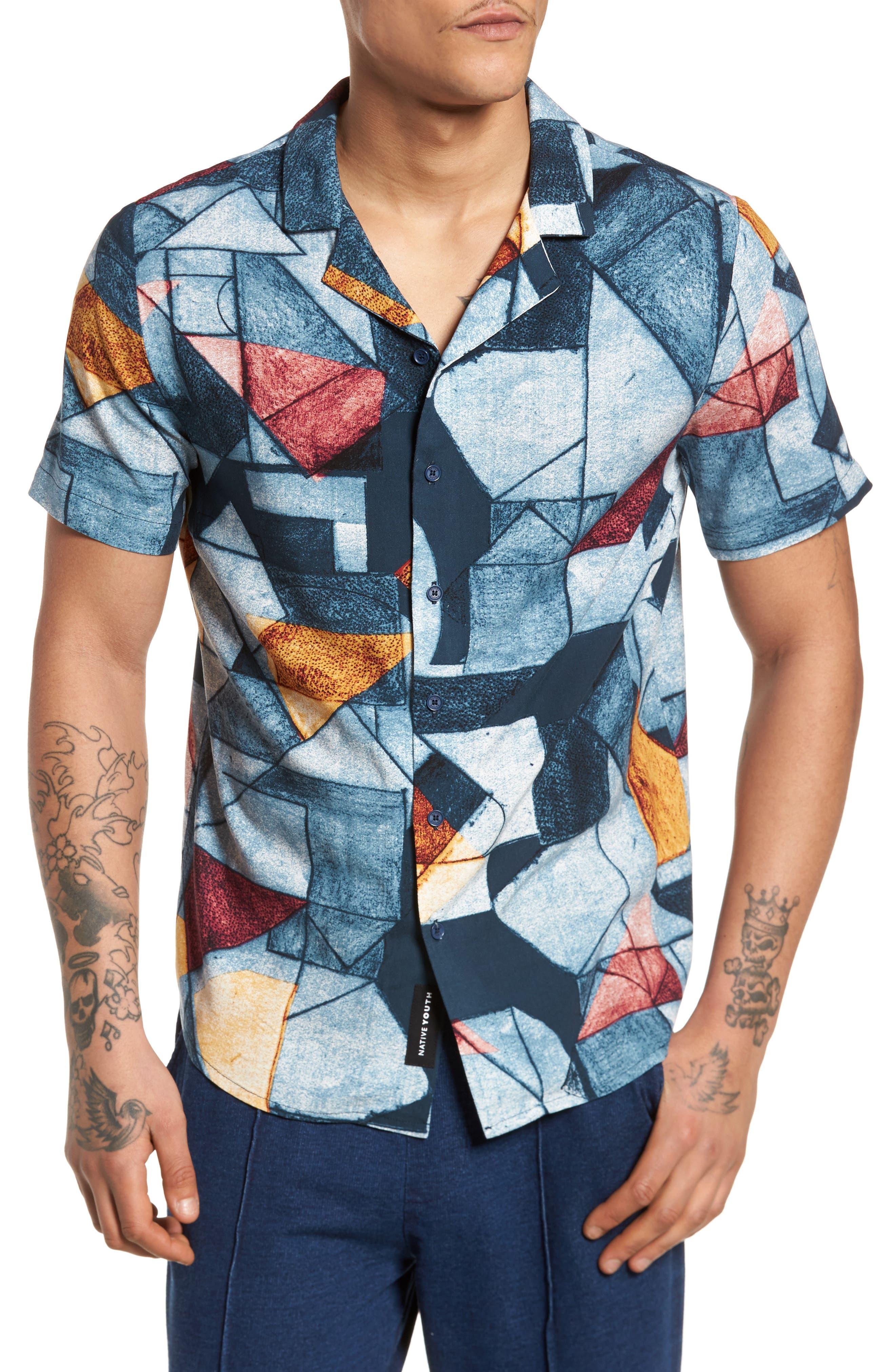 Olio Etch Woven Shirt,                         Main,                         color, Indigo
