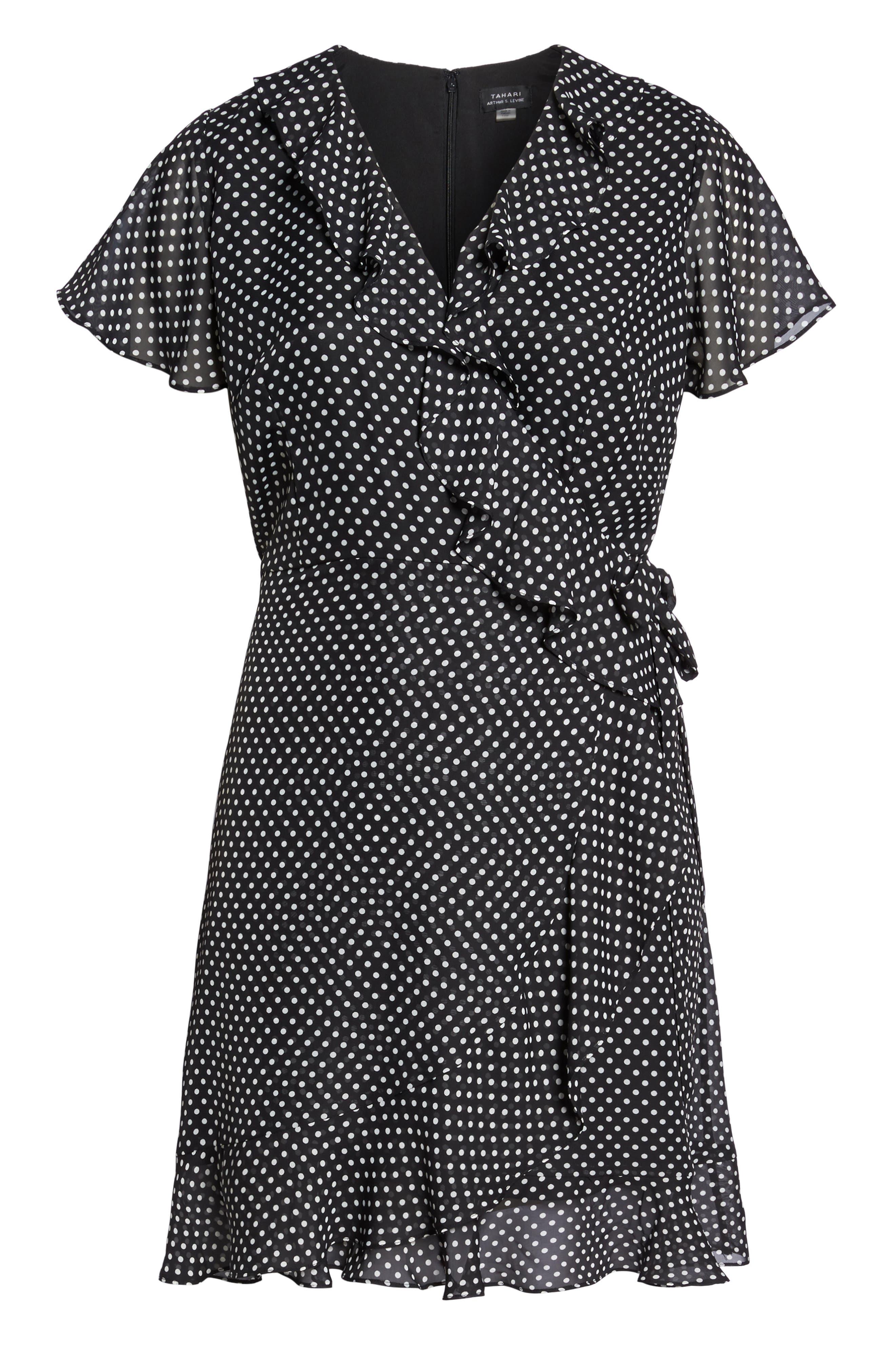 Polka Dot Faux Wrap Ruffle Dress,                             Alternate thumbnail 6, color,                             Black/ Ivory