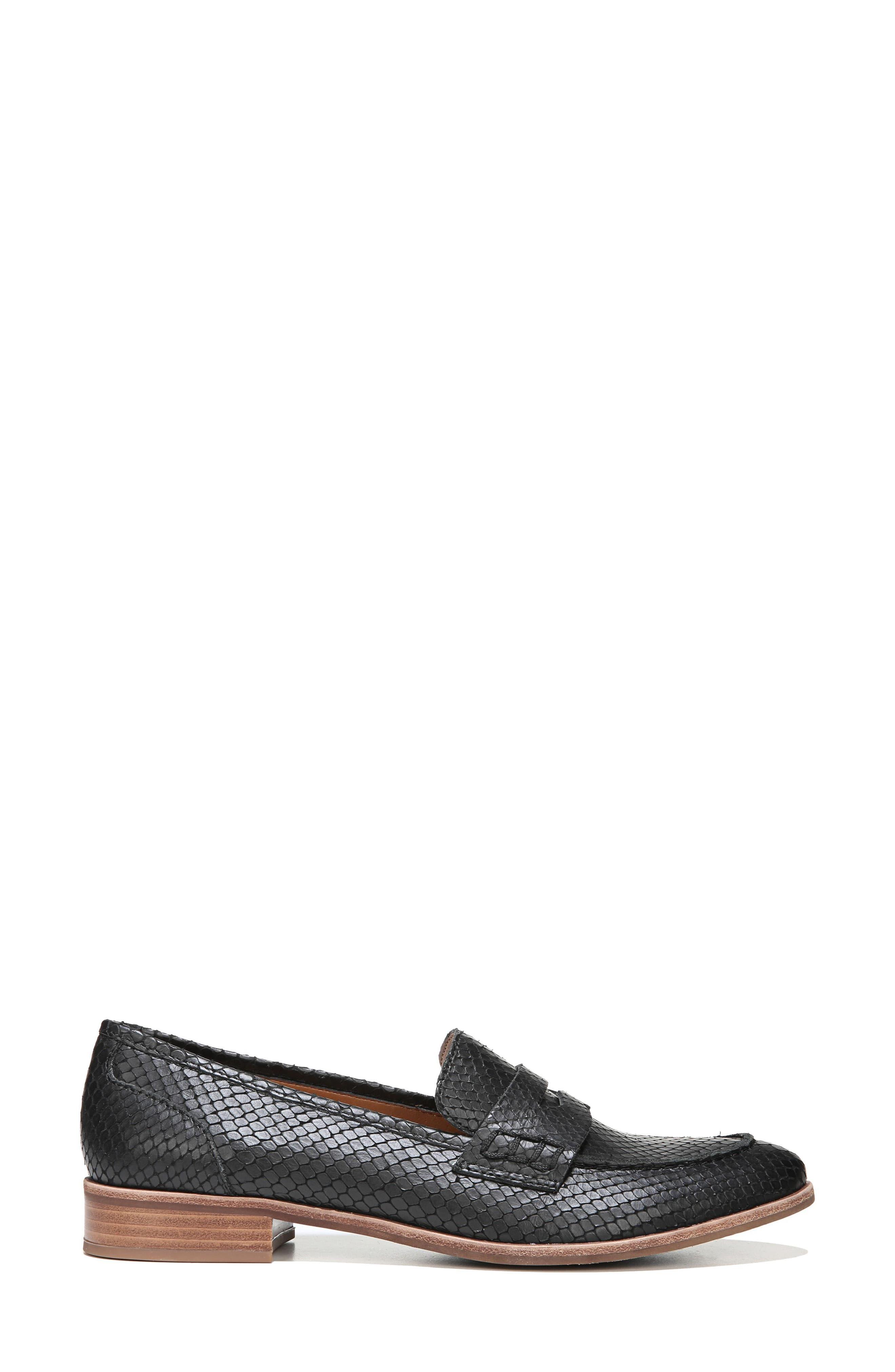 'Jolette' Penny Loafer,                             Alternate thumbnail 3, color,                             Black Printed Leather