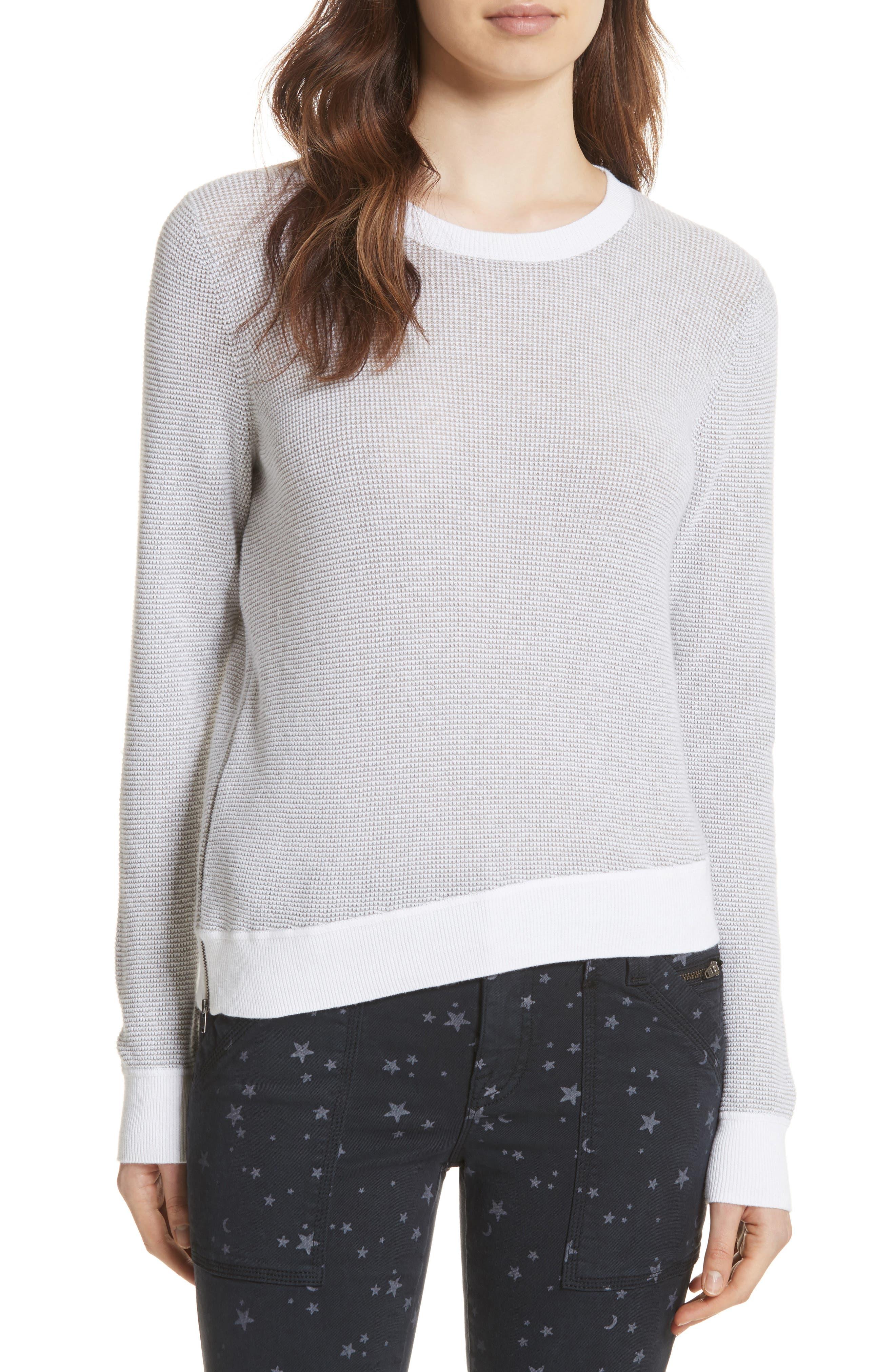 Laurana Cotton & Cashmere Sweater,                         Main,                         color, Porcelain/ Heather Grey