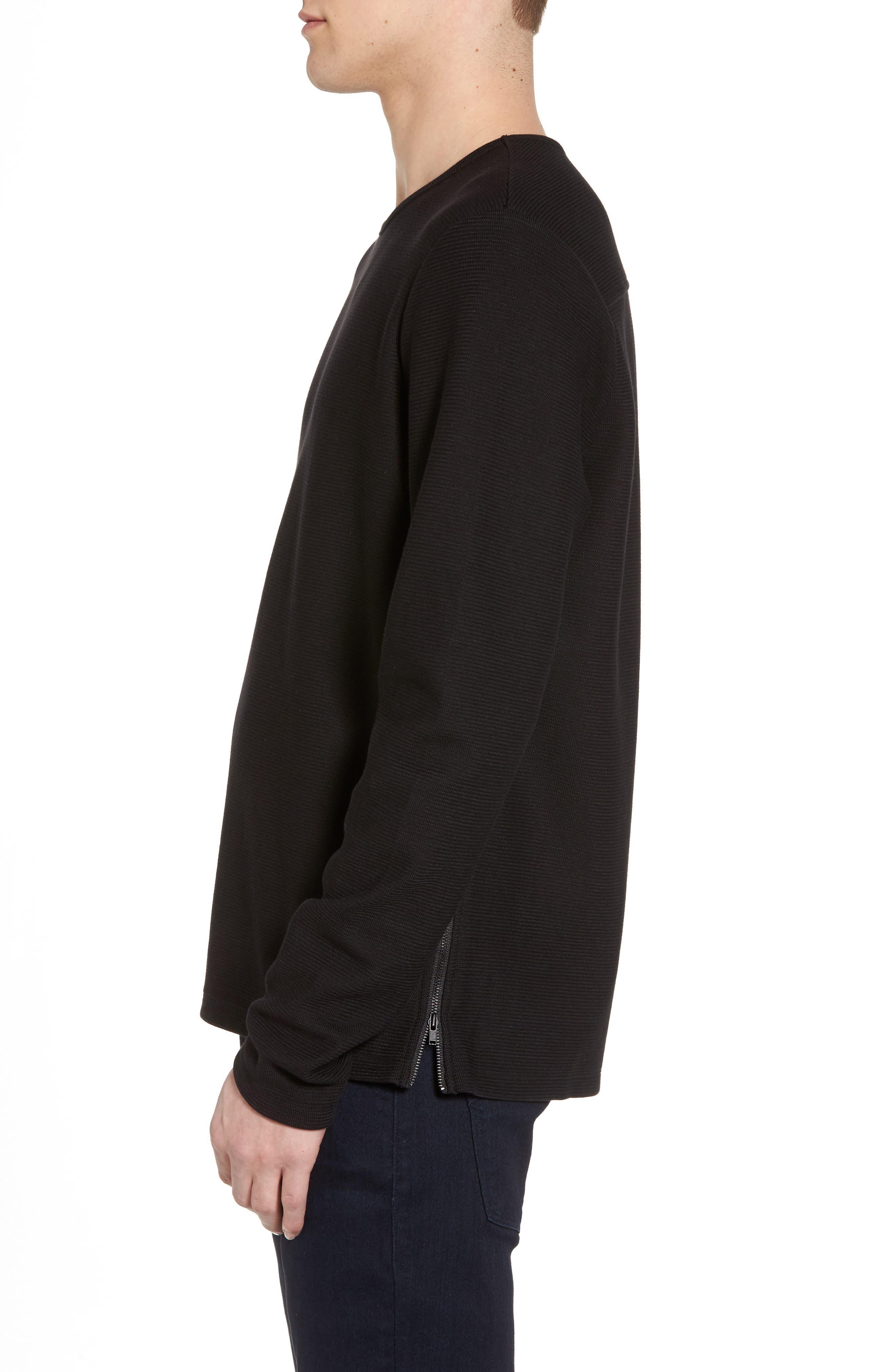 Side Zip Thermal Sweatshirt,                             Alternate thumbnail 3, color,                             Black