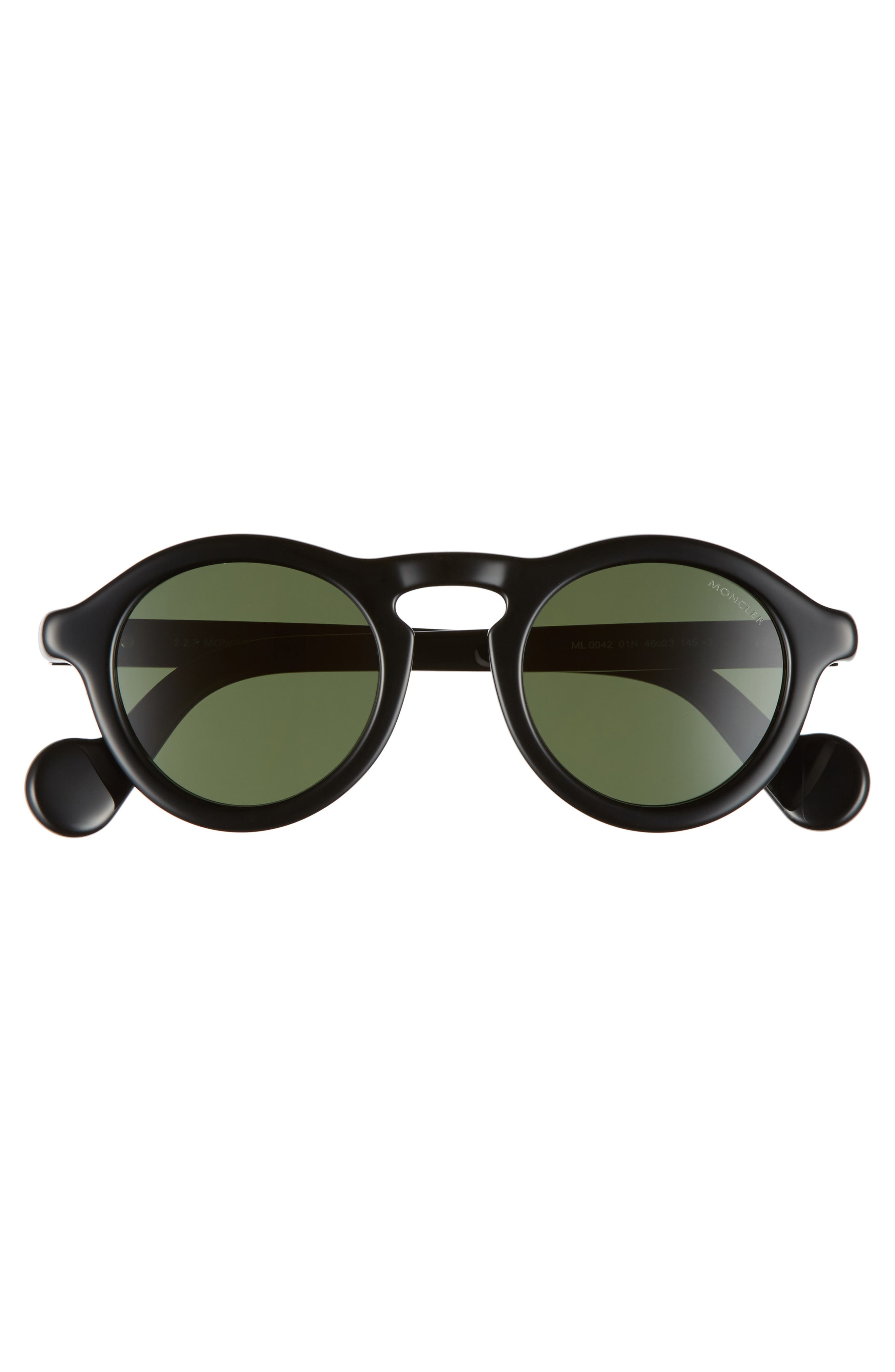 46mm Round Sunglasses,                             Alternate thumbnail 2, color,                             Shiny Black/ Green