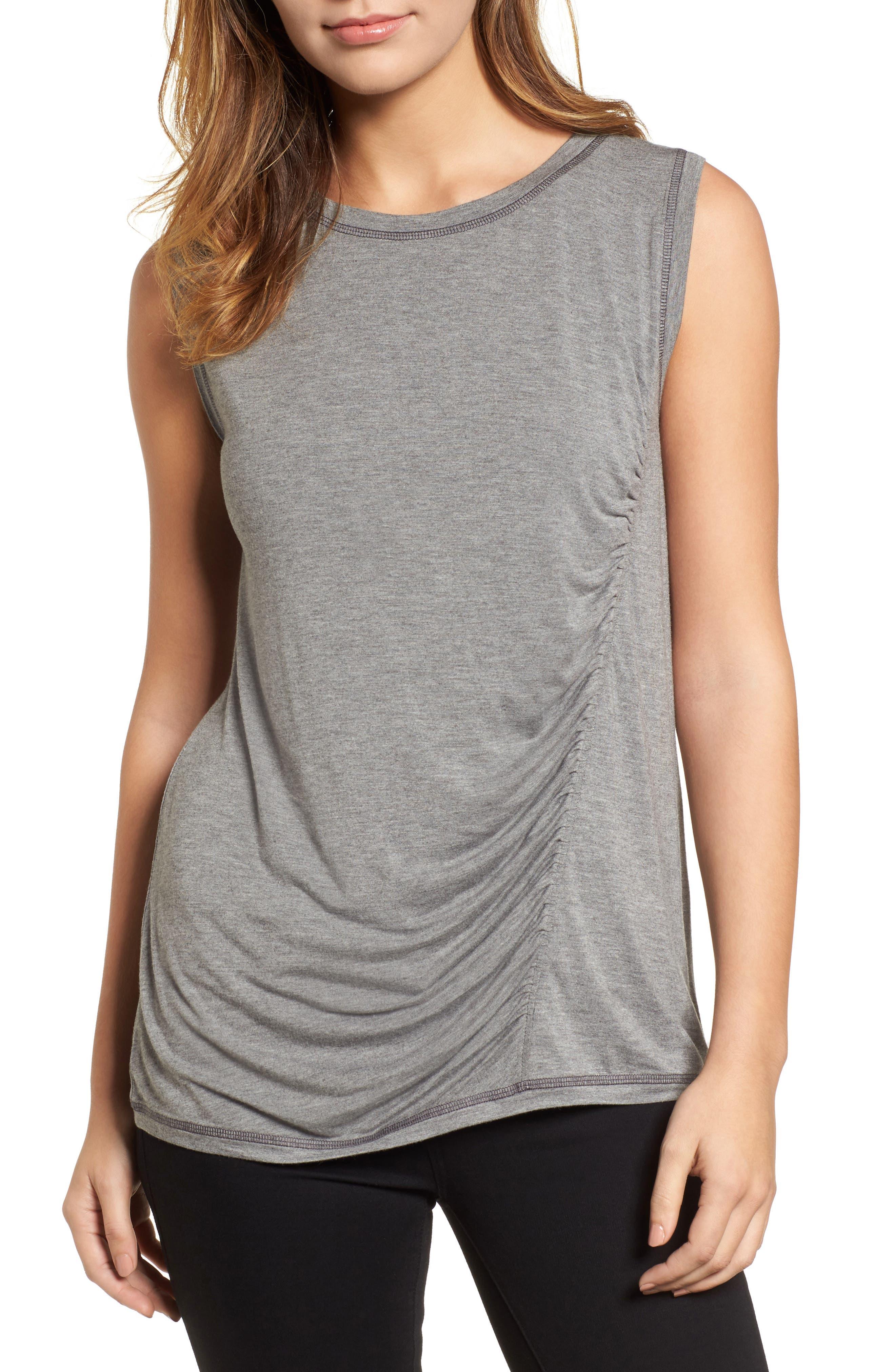Off-Duty Shirred Sleeveless Tee,                         Main,                         color, Grey Heather