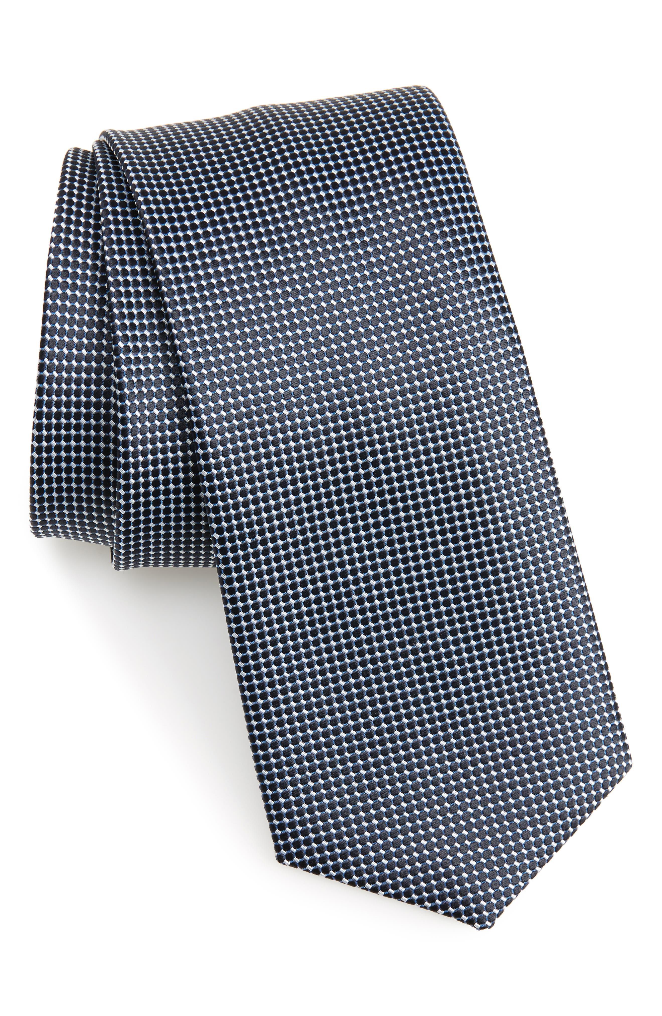 Geometric Silk Tie,                             Main thumbnail 1, color,                             Bright Blue