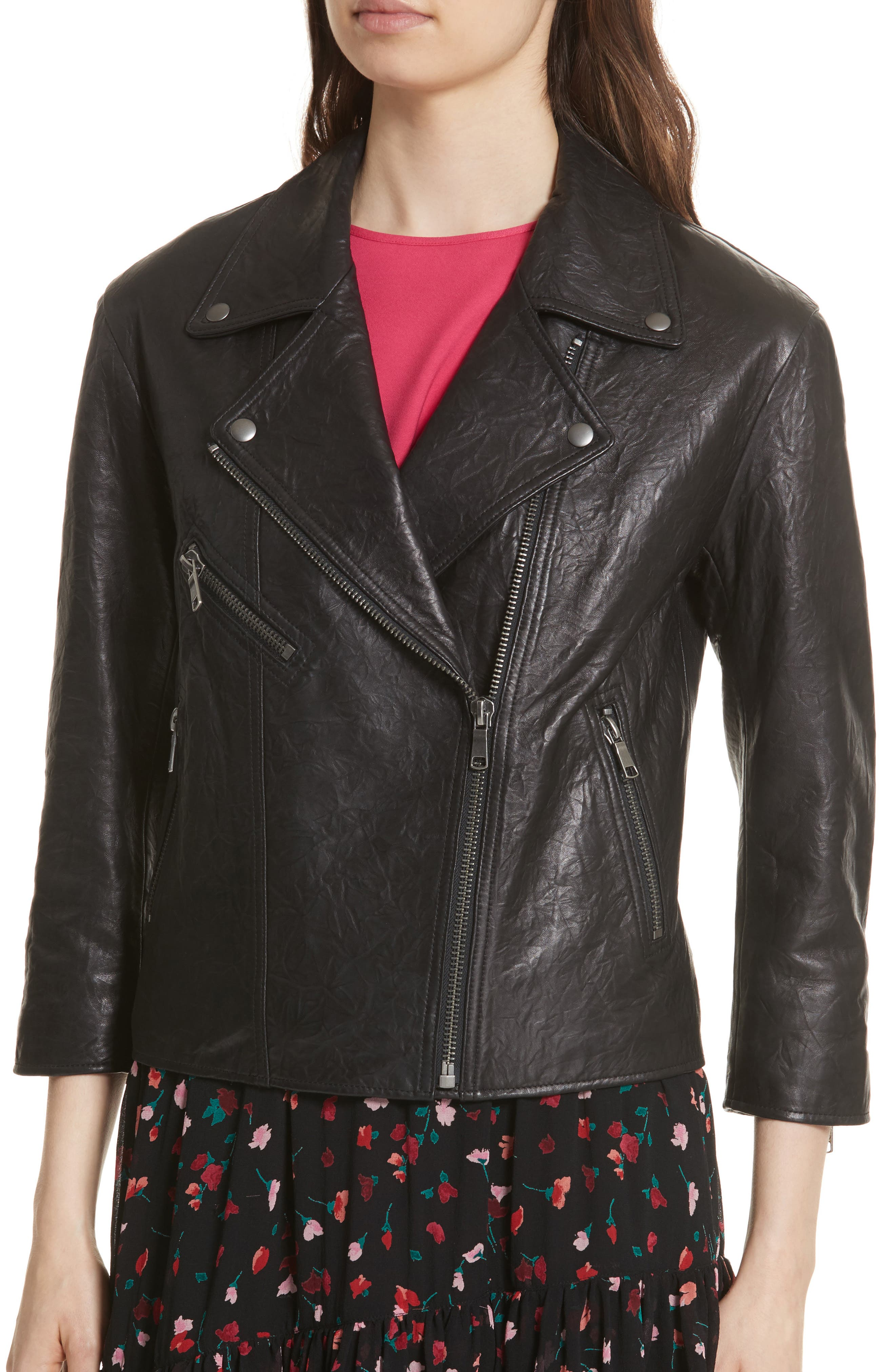 Kameke Viva La Femme Lambskin Leather Jacket,                             Alternate thumbnail 4, color,                             Caviar