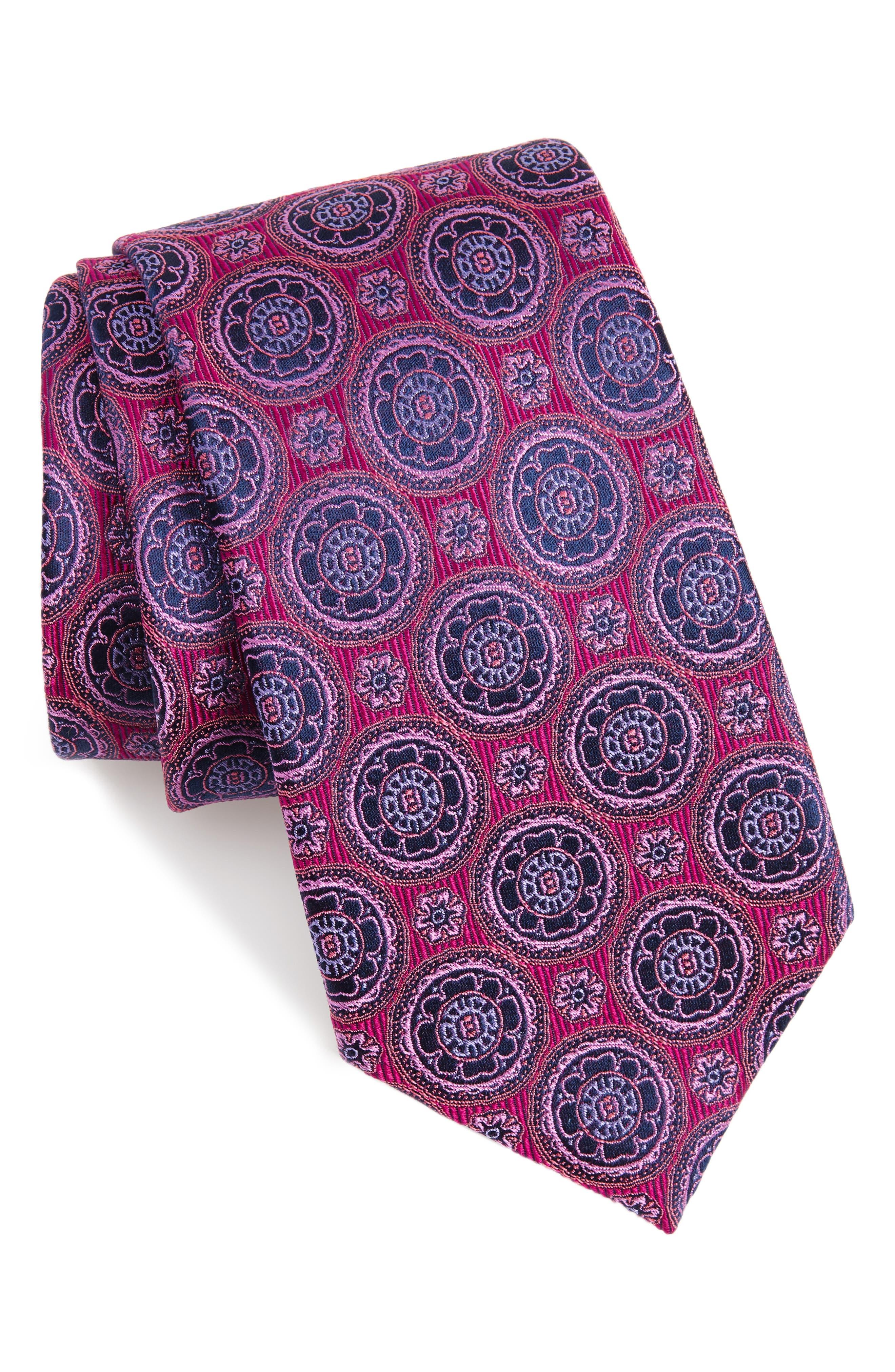 Kensington Medallion Silk Tie,                         Main,                         color, Pink